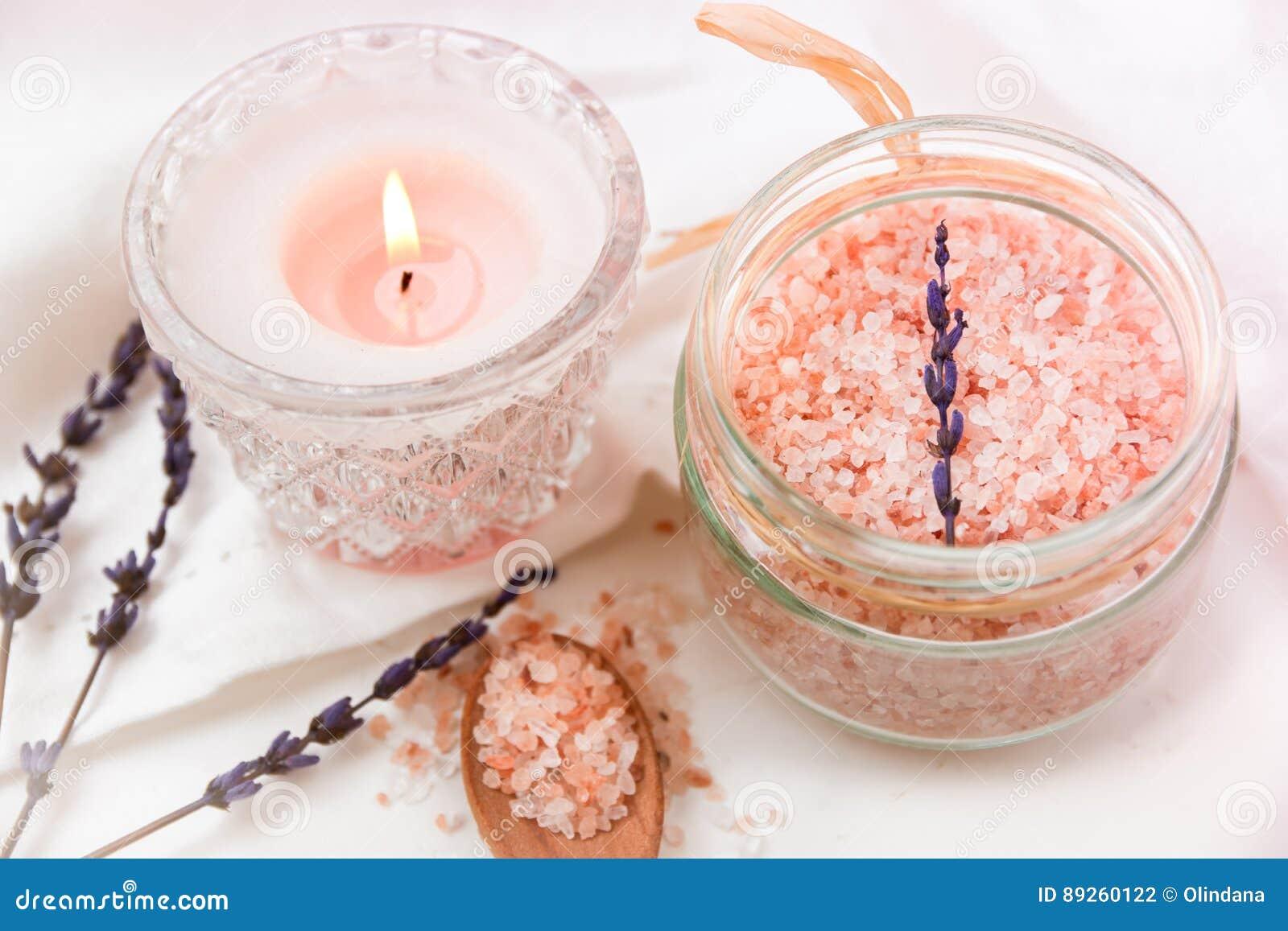 Pink Himalayan Salt In Glass Jar, Burning Candle Wood Spoon