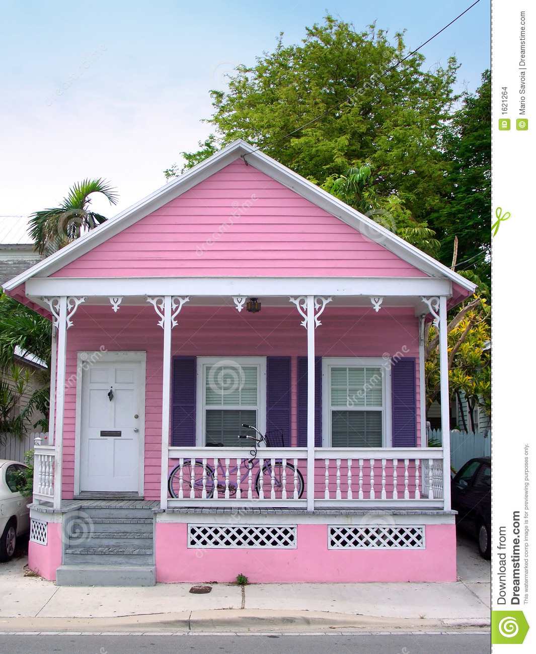 Small House Plans With Porch Pink House Stock Images Image 1621264