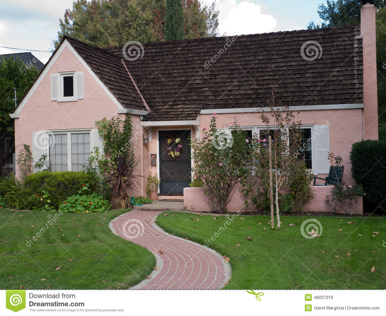 Pink House And Brick Trail Stock Image Image Of House
