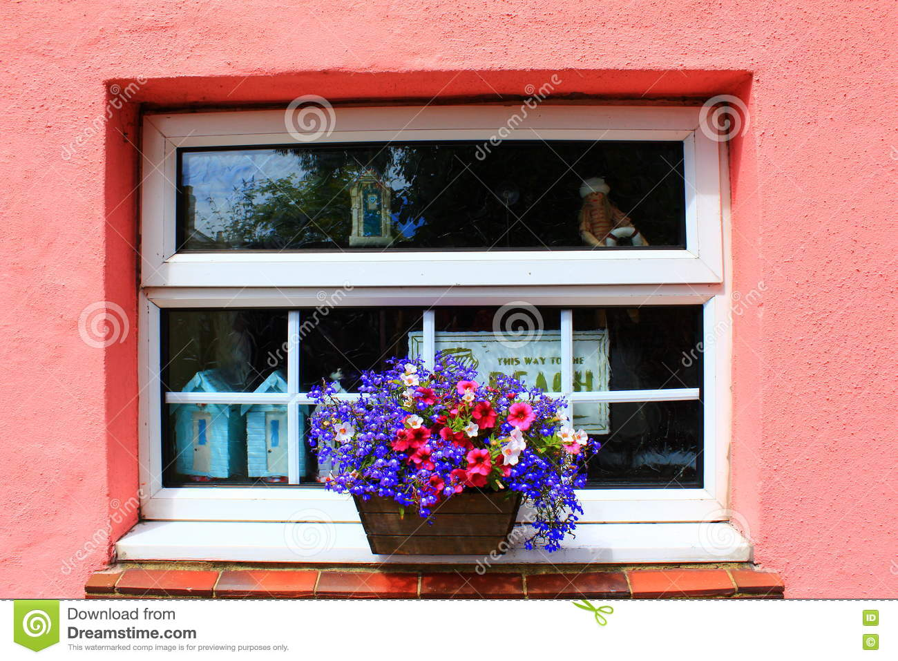 pink house window decoration stock photo - image: 77932797