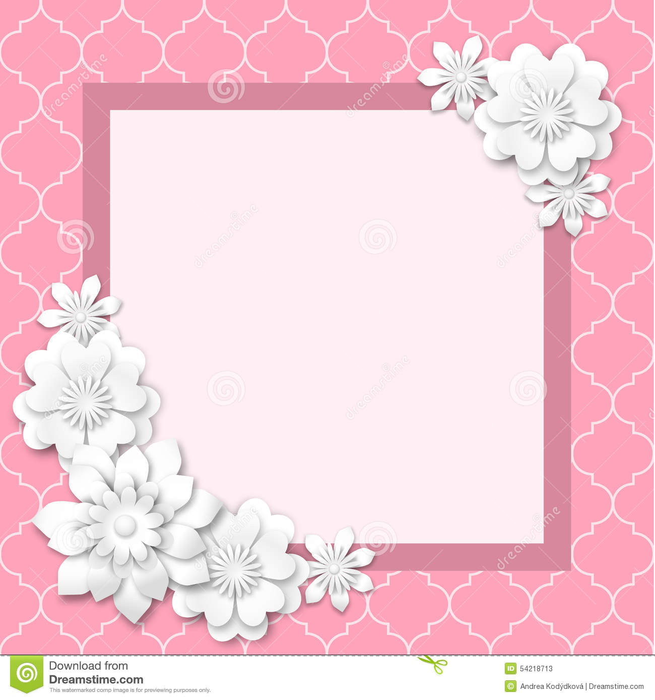 Pink Image Frame With White 3d Flowers Stock Vector - Illustration ...