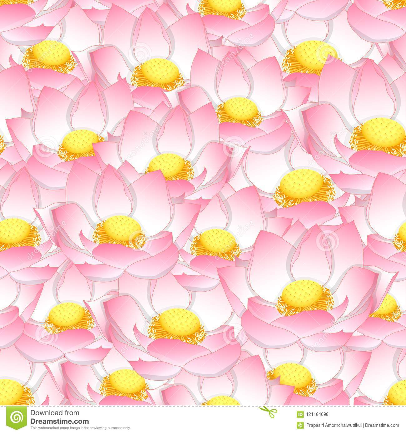 Pink Indian Lotus Seamless Background Stock Vector Illustration