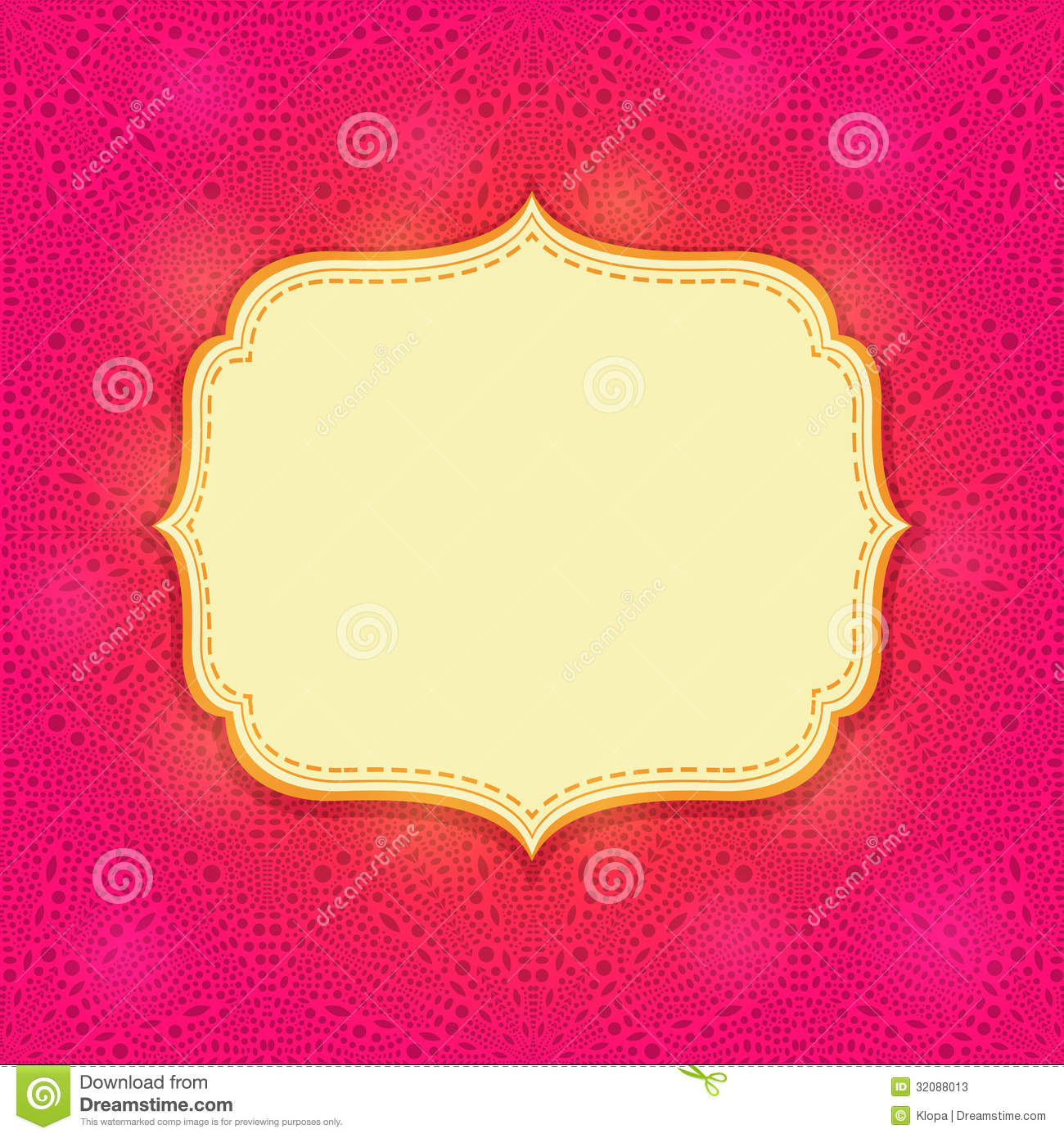 pink invitation card with blank label stock illustration