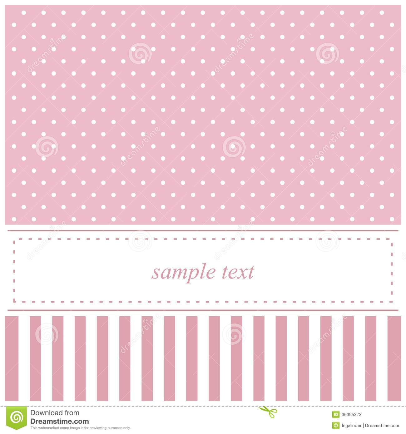 Pink Vector Invitation Card With Polka Dots And St Stock