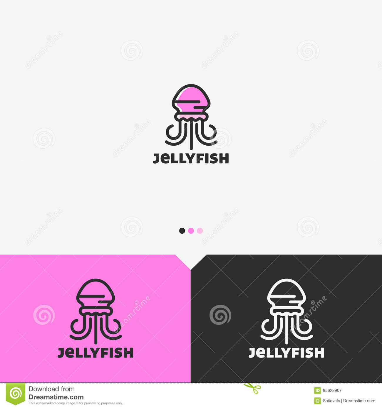 pink jellyfish logo design template simple and clean outline pink jellyfish logo design template simple and clean outline style color and monochromatic version