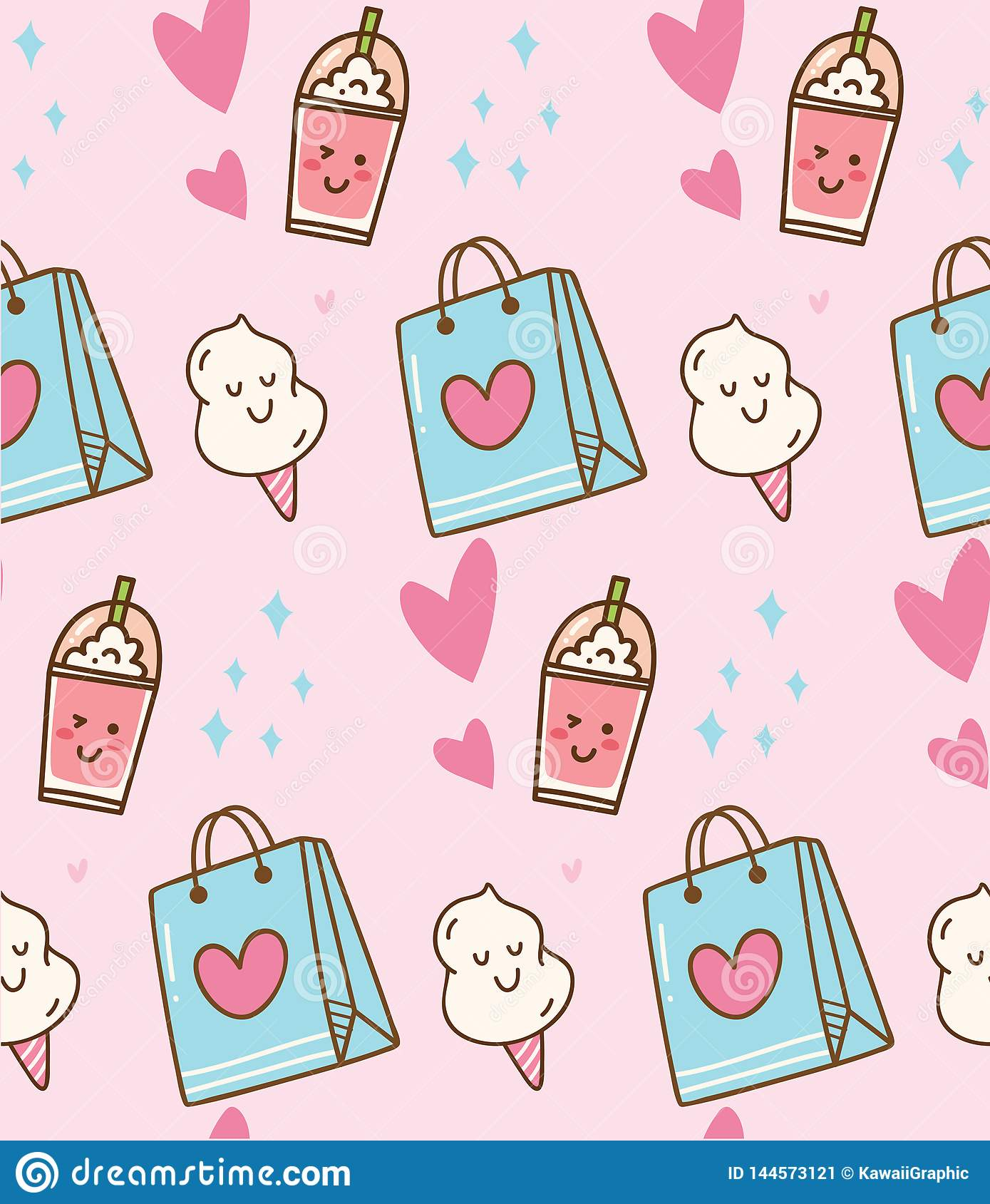 Pink Kawaii Background With Gift Bag And Cotton Candy Stock