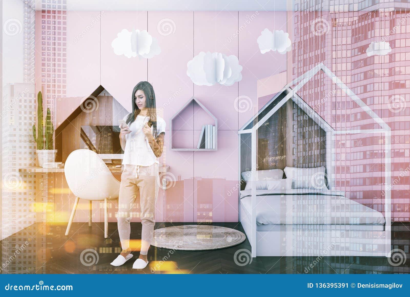 Pink Kids Bedroom Interior, Woman Stock Image - Image of ...