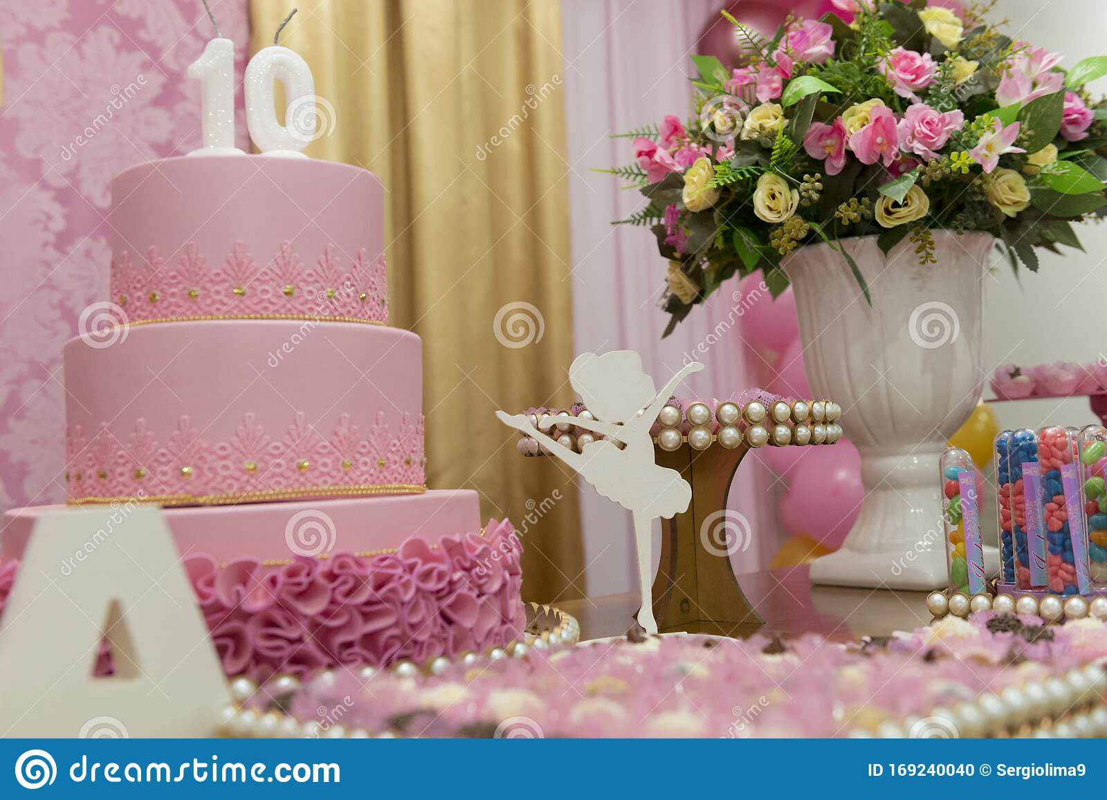 Sensational Pink Kids Girly Birthday With Candies And Flowers Stock Photo Funny Birthday Cards Online Eattedamsfinfo