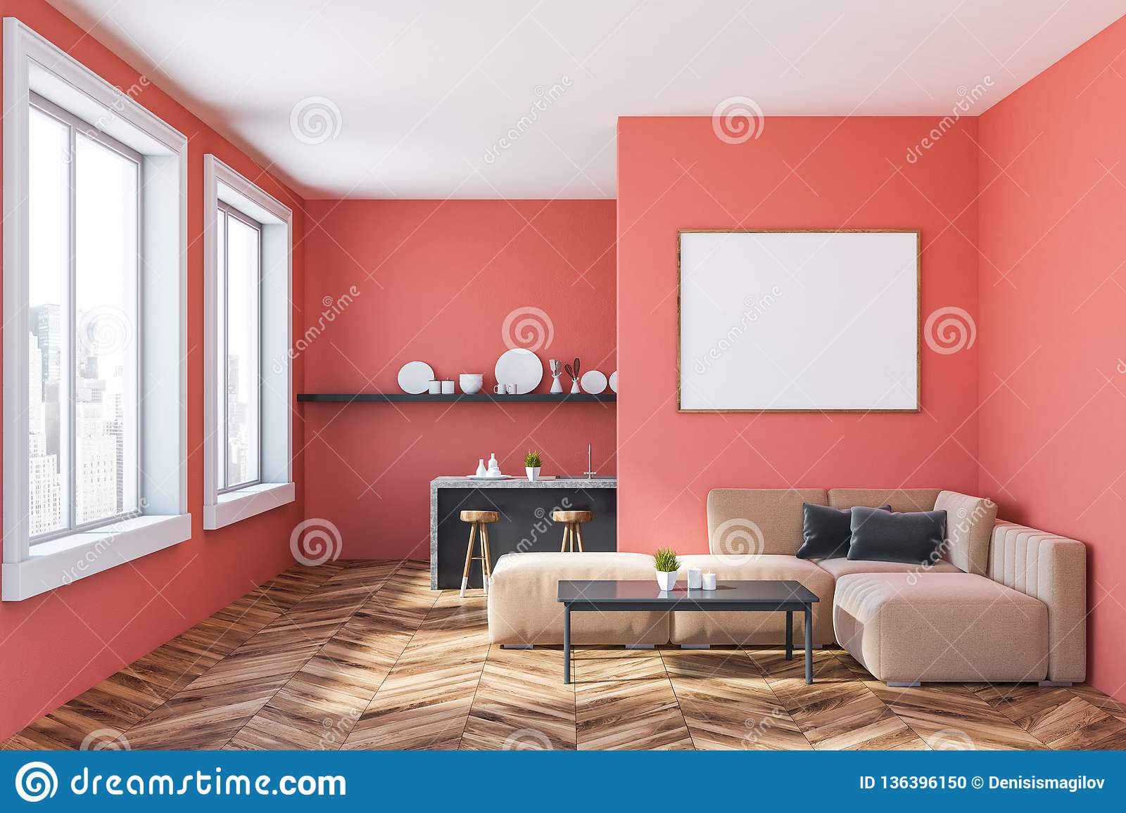 Pink Kitchen With Bar And Sofa, Poster Stock Illustration ...