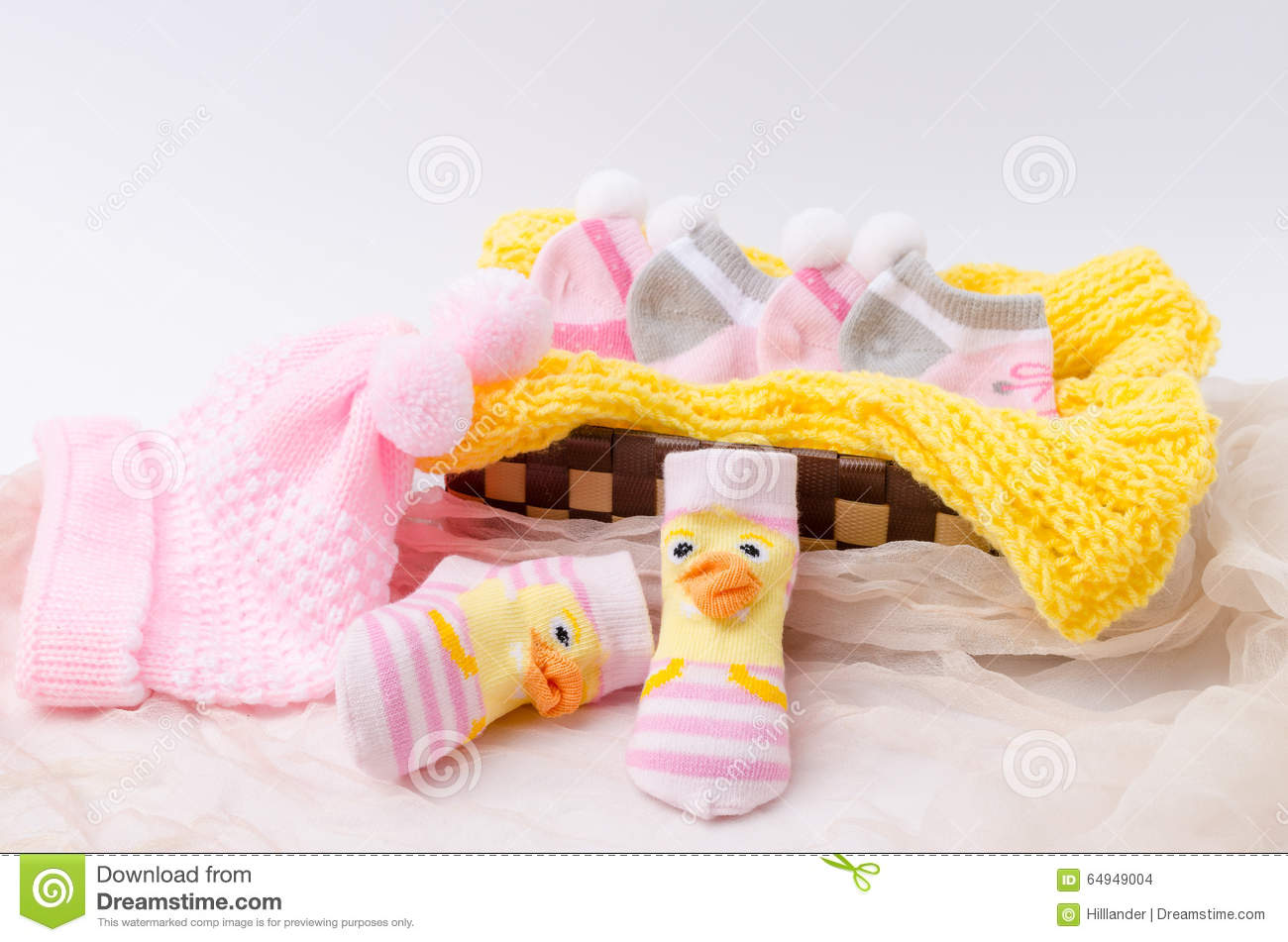 90f1e035835 Pink Knit Hat And Socks Gift Set For A Newborn Baby Girl Stock Photo ...