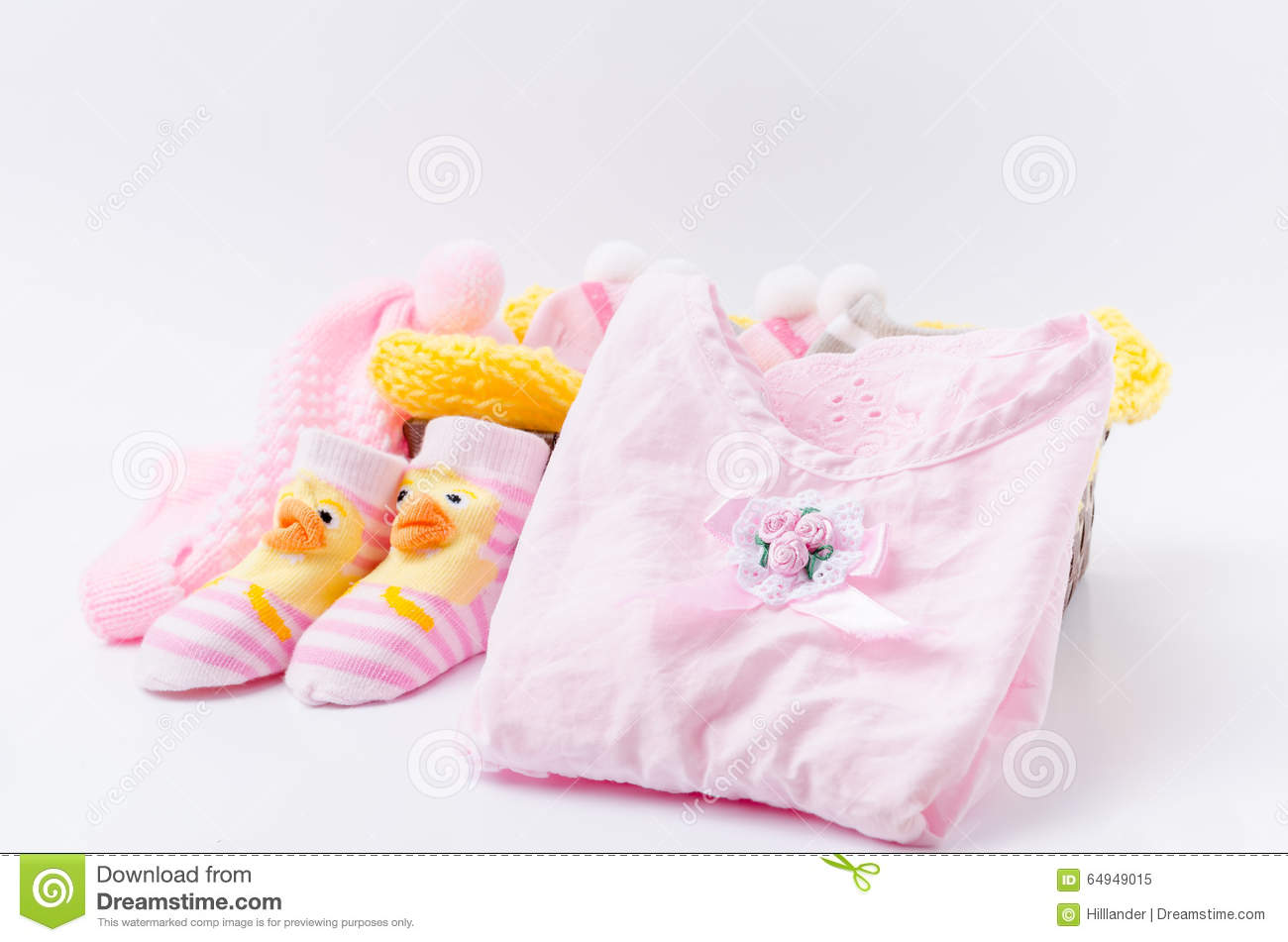 f3b1a22e3c1 Pink Knit Hat And Socks Gift Set For A Newborn Baby Girl Stock Image ...