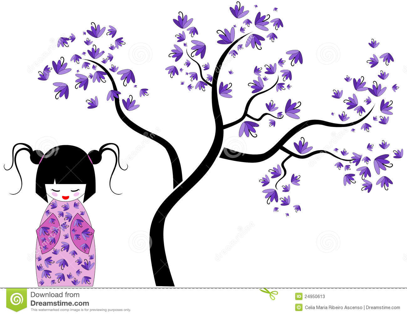 Pink Kokeshi Doll With Tree Stock Photos Image 24950613