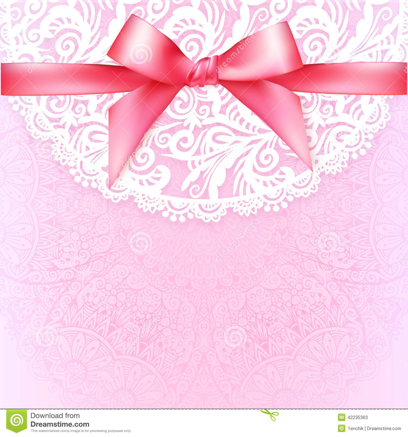 Pink Lacy Vintage Wedding Greeting Card Template Stock Vector - Image ...