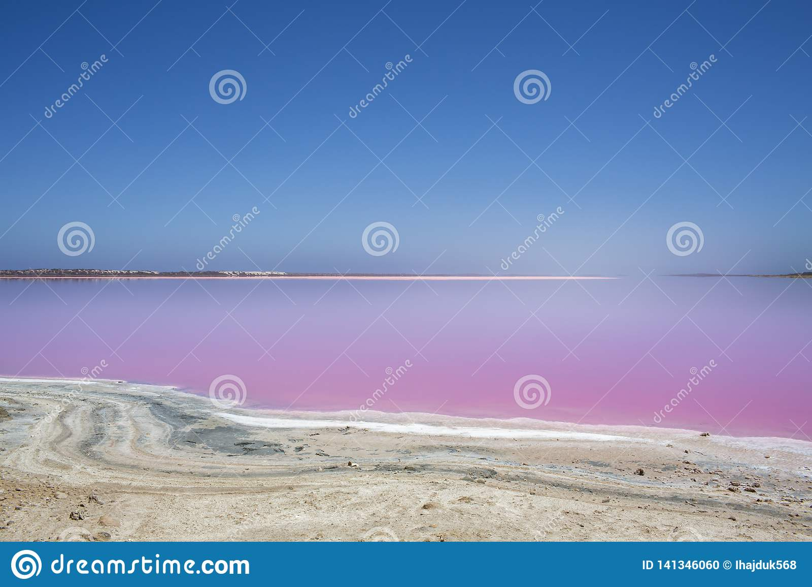 Pink lake Hut Lagoon at Port Gregory, Western Australia, Australia