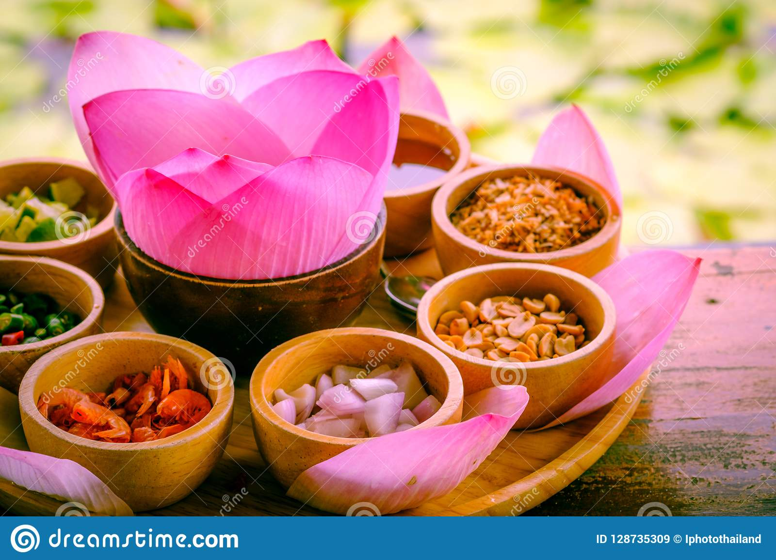 Pink Leaf Of Lotus Wrapped In A Word With Dried Lemon Coconut