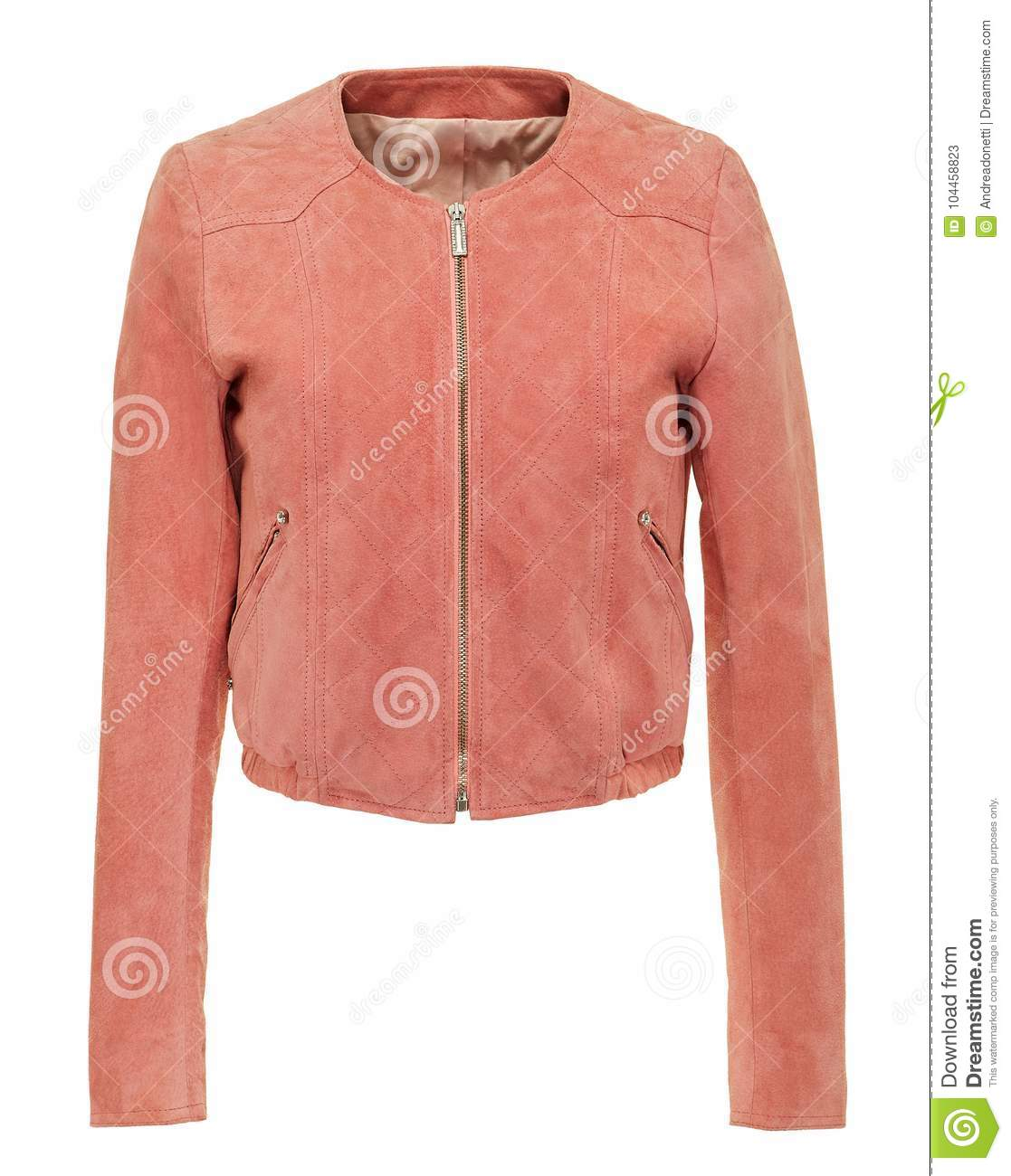 Pink leather ladies jacket with zipper