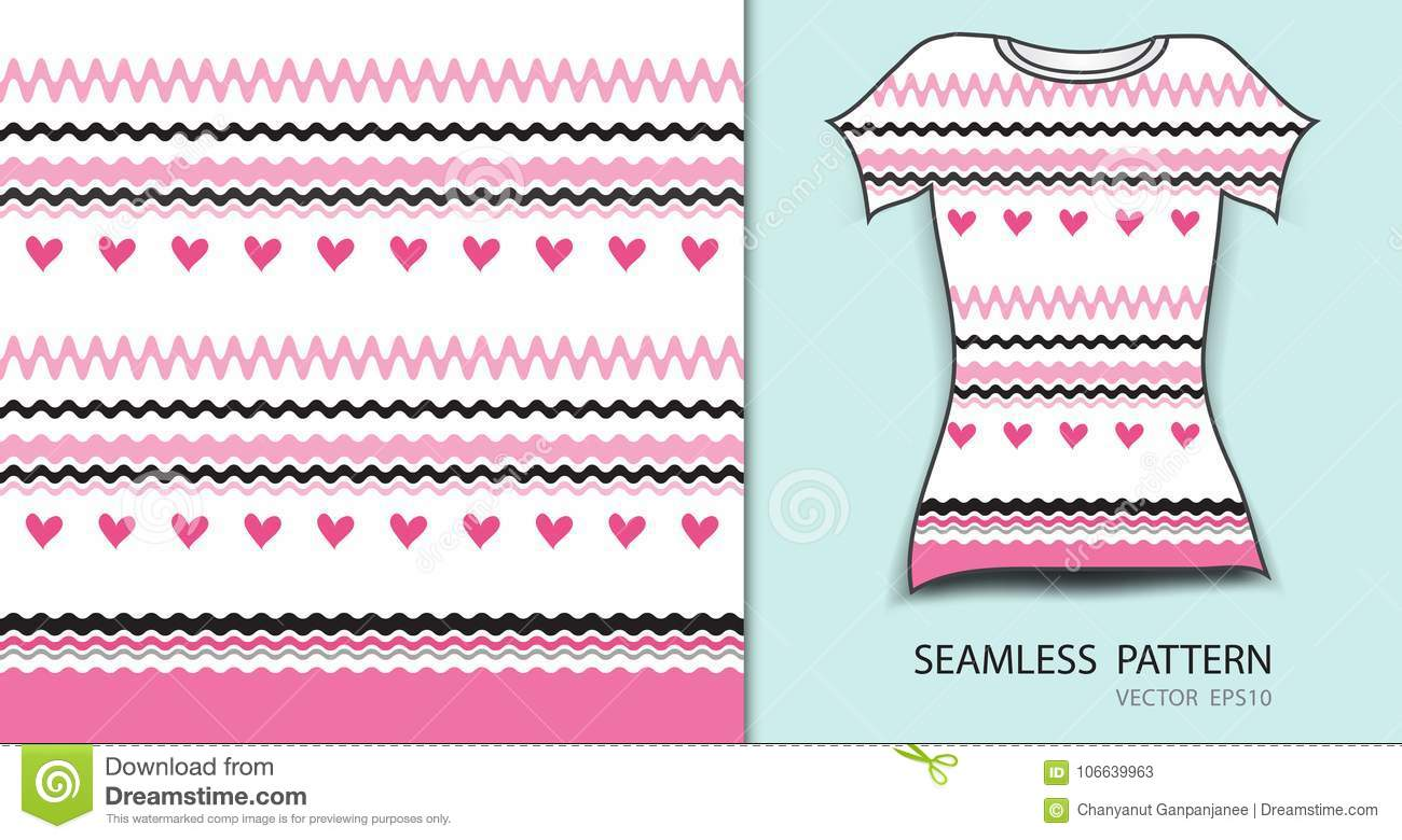 Pink lines and heart seamless pattern vector illustration, t shirt design, fabric texture, patterned clothing