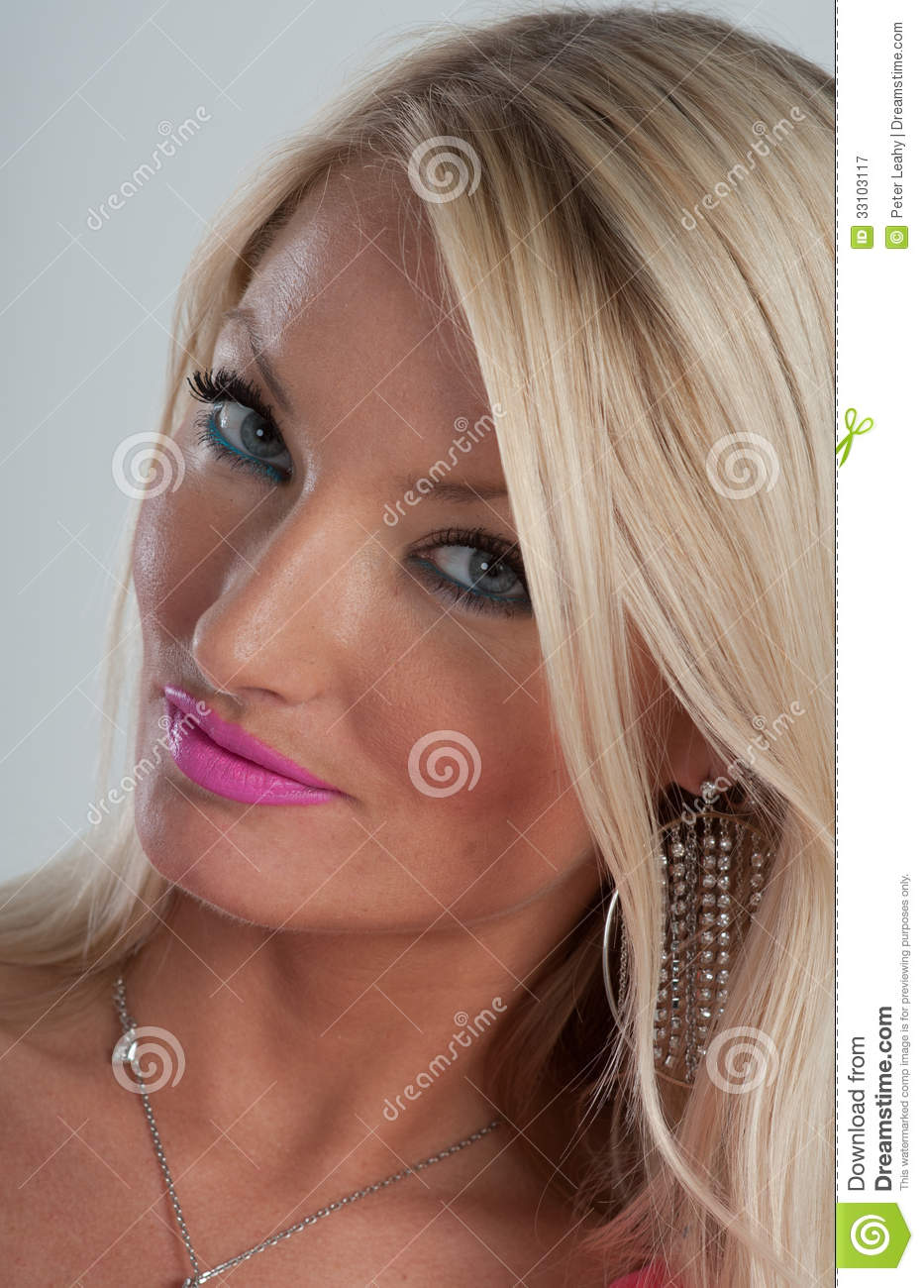 Pink Lipstick Blue Eyes And Blonde Hair Royalty Free