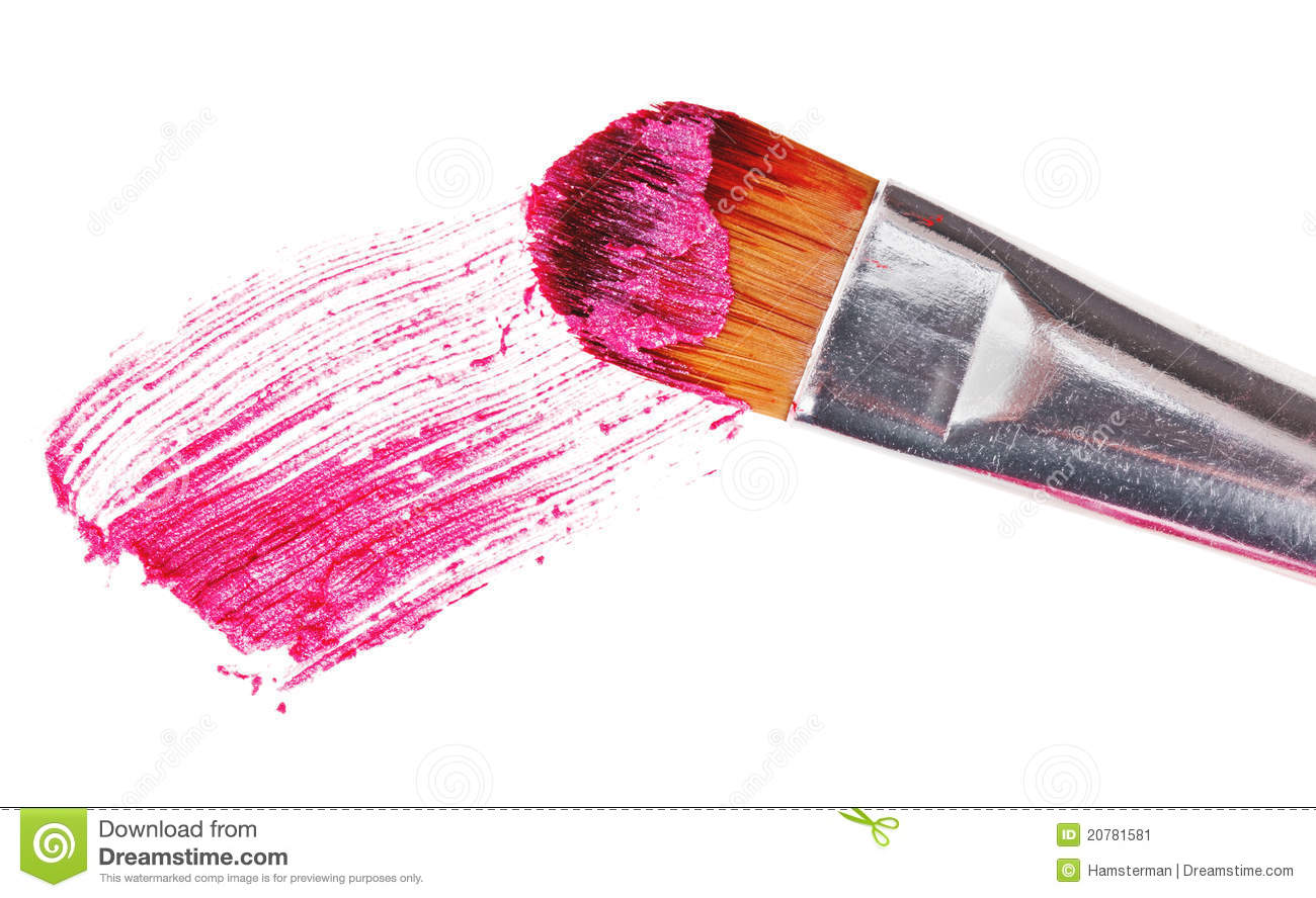 Pink Lipstick Stroke Sample With Makeup Brush Stock