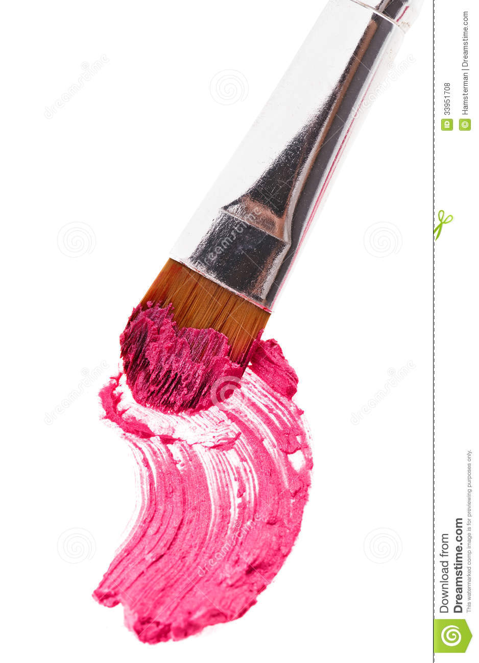 Pink Lipstick Stroke Sample With Makeup Brush Royalty