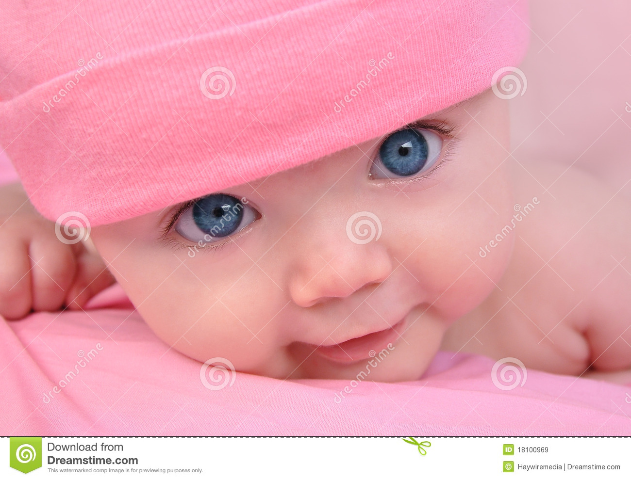 Pink Little Baby Girl With Big Eyes Royalty Free Stock