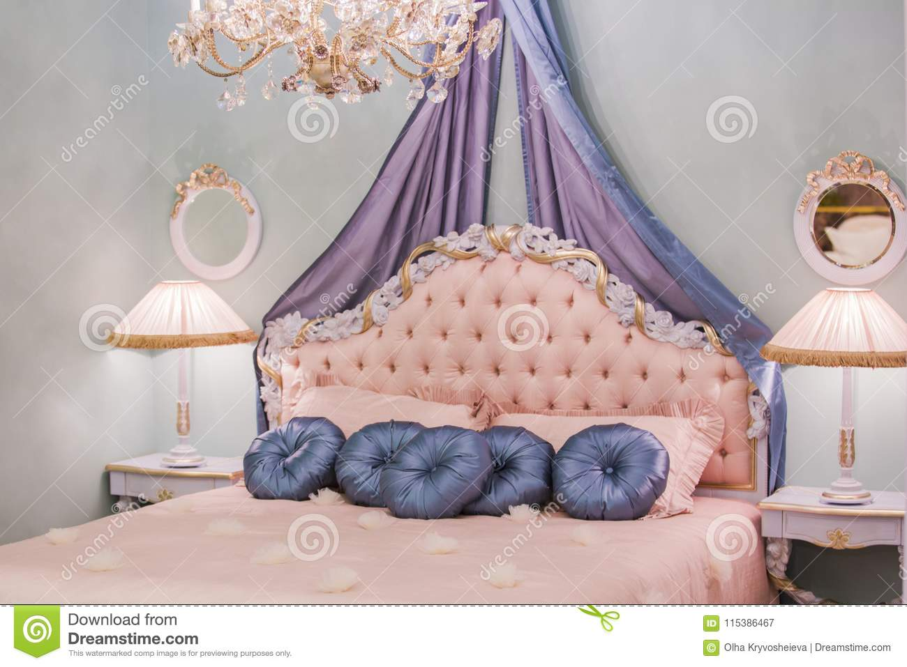 pink little princess room with satin pillows bedside lamps bedside rh dreamstime com