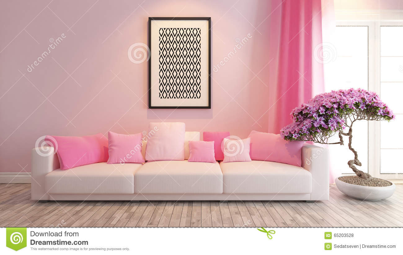 pink living room or saloon interior design rendering stock
