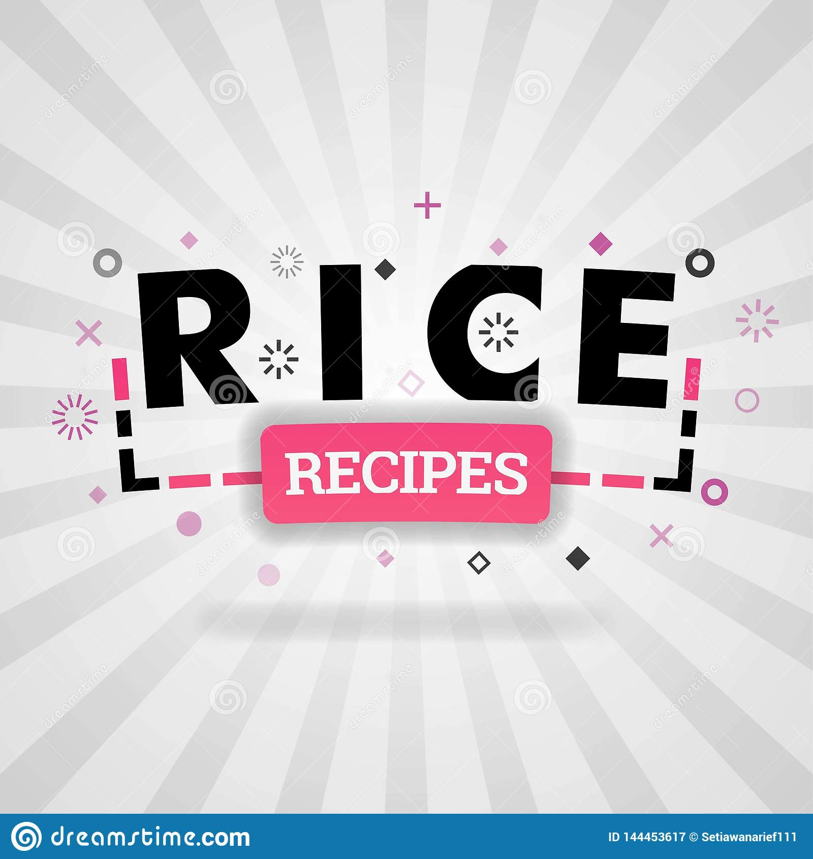 Pink Logo For Rice Recipes  For Recipe Websites, Food Blog
