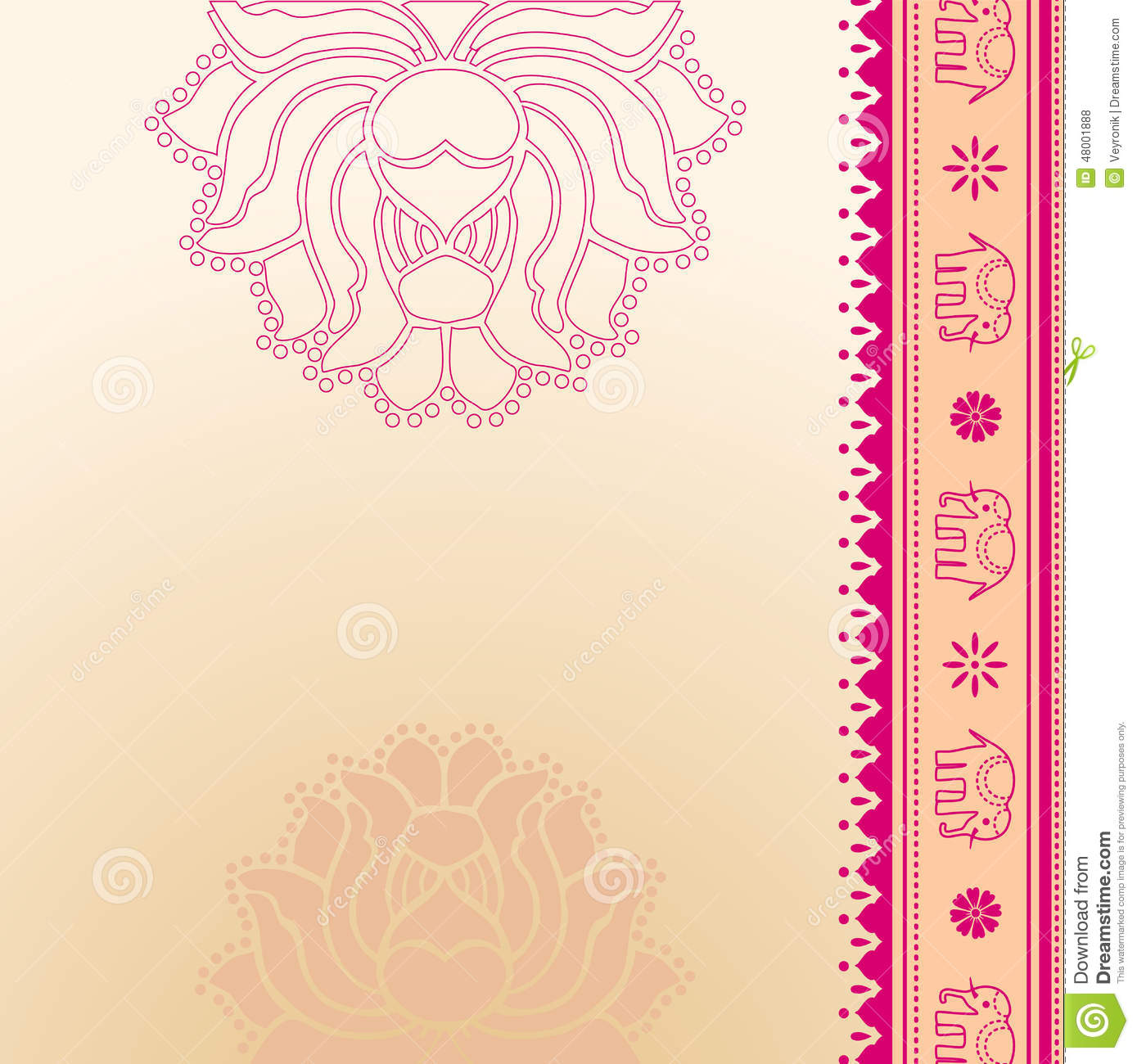 Pink Lotus And Elephant Indian Background Stock Vector - Image ...