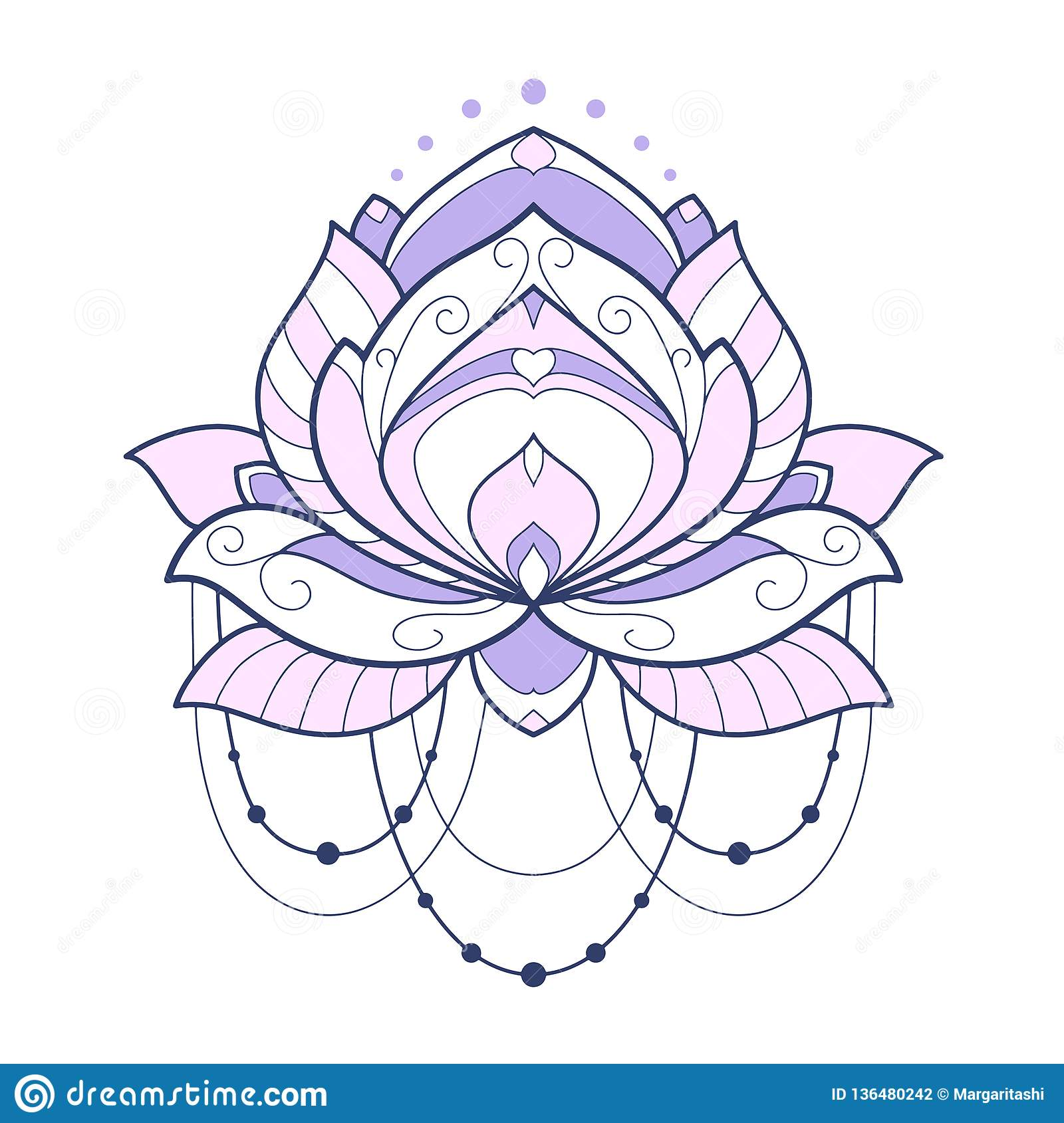 Pink Lotus Flower Geometrical Vector Illustration Is Isolated On A