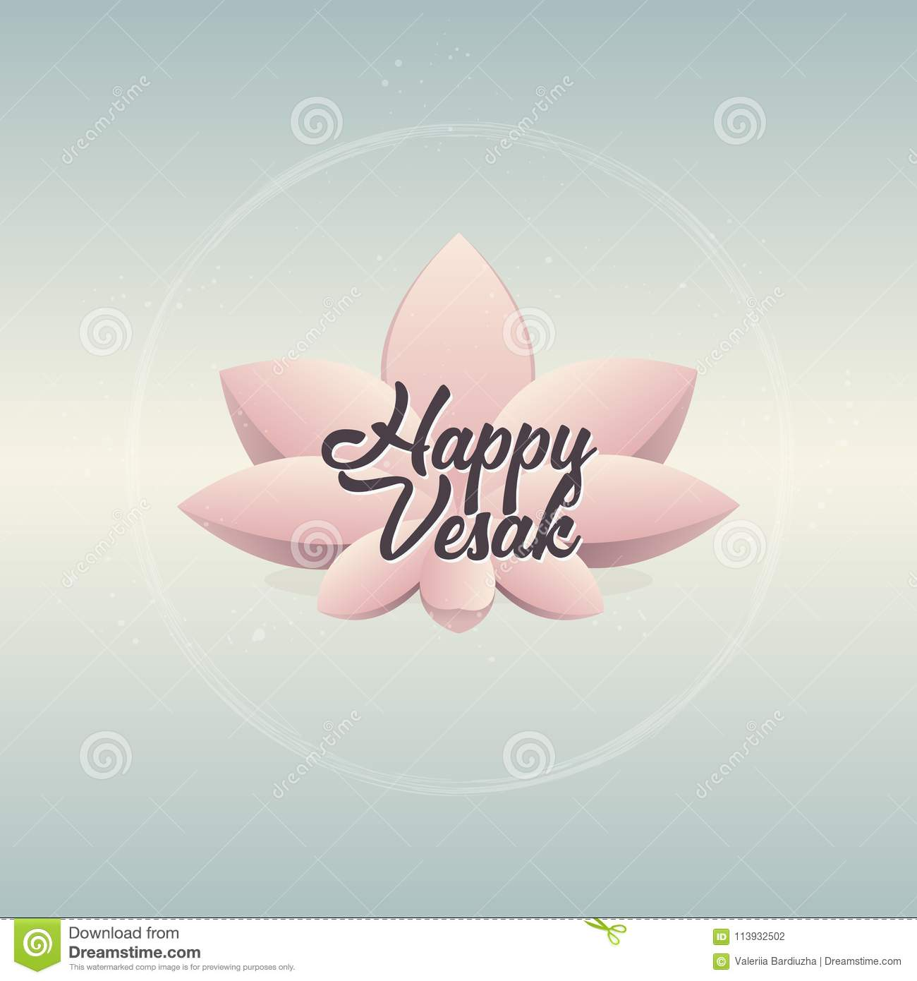 Pink Lotus Flower On Gradient Blue Background  Vector Illustration