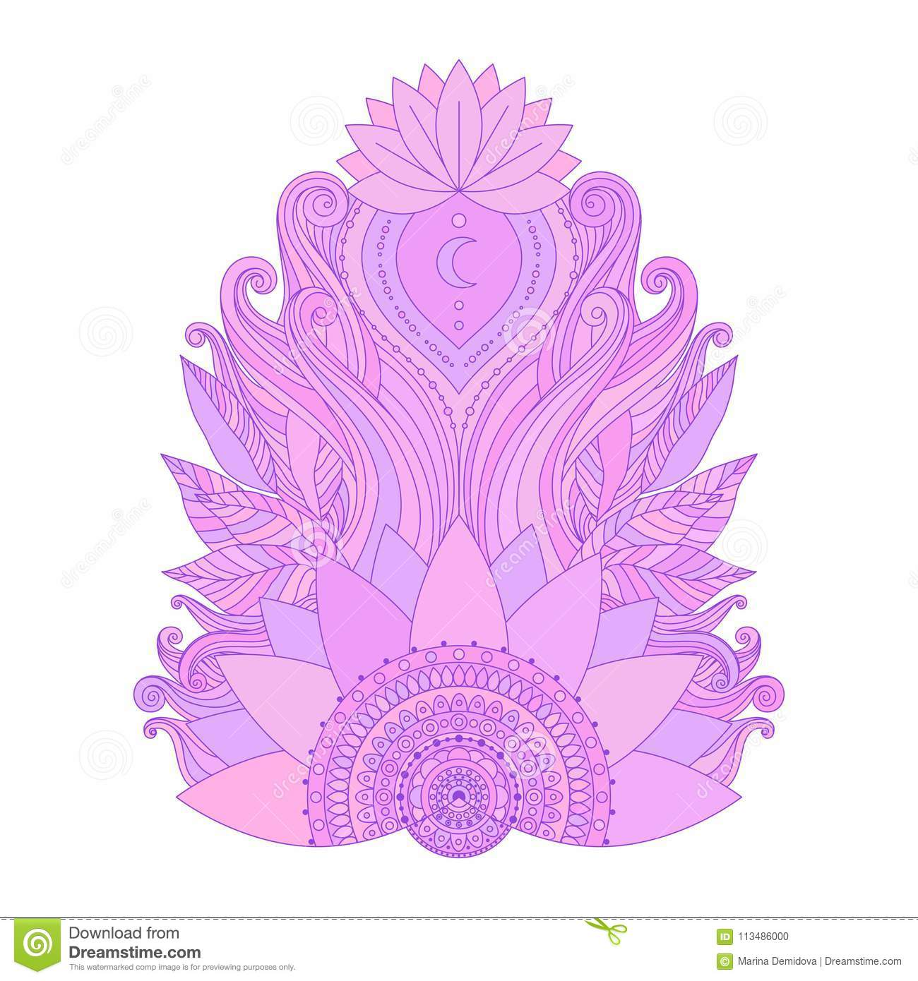 Pink Lotus Flower Isolated Stock Vector Illustration Of Decoration