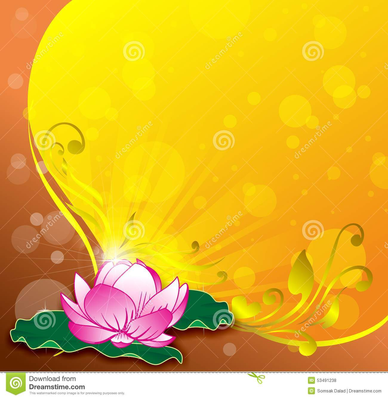 ... lotus vector gold background floral abstrac star light yellow color