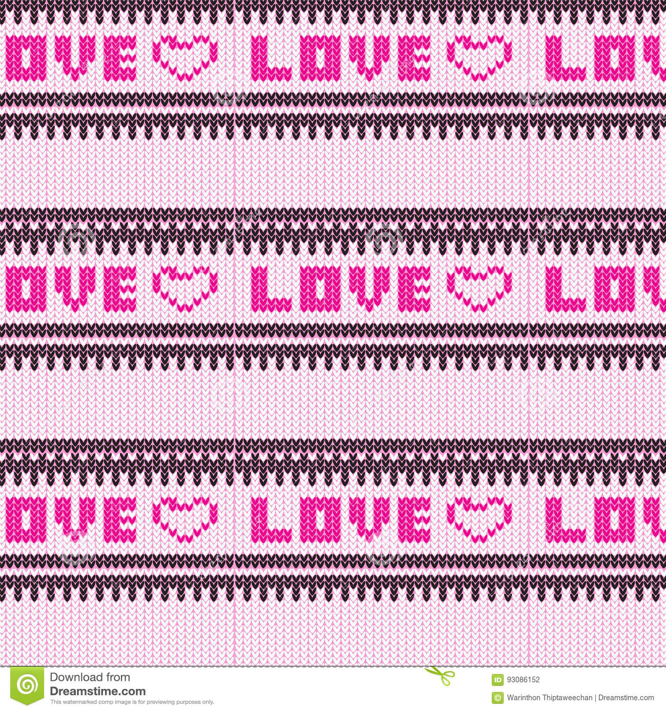 Pink Love Heart With Black And White Striped Knitted Pattern Bac