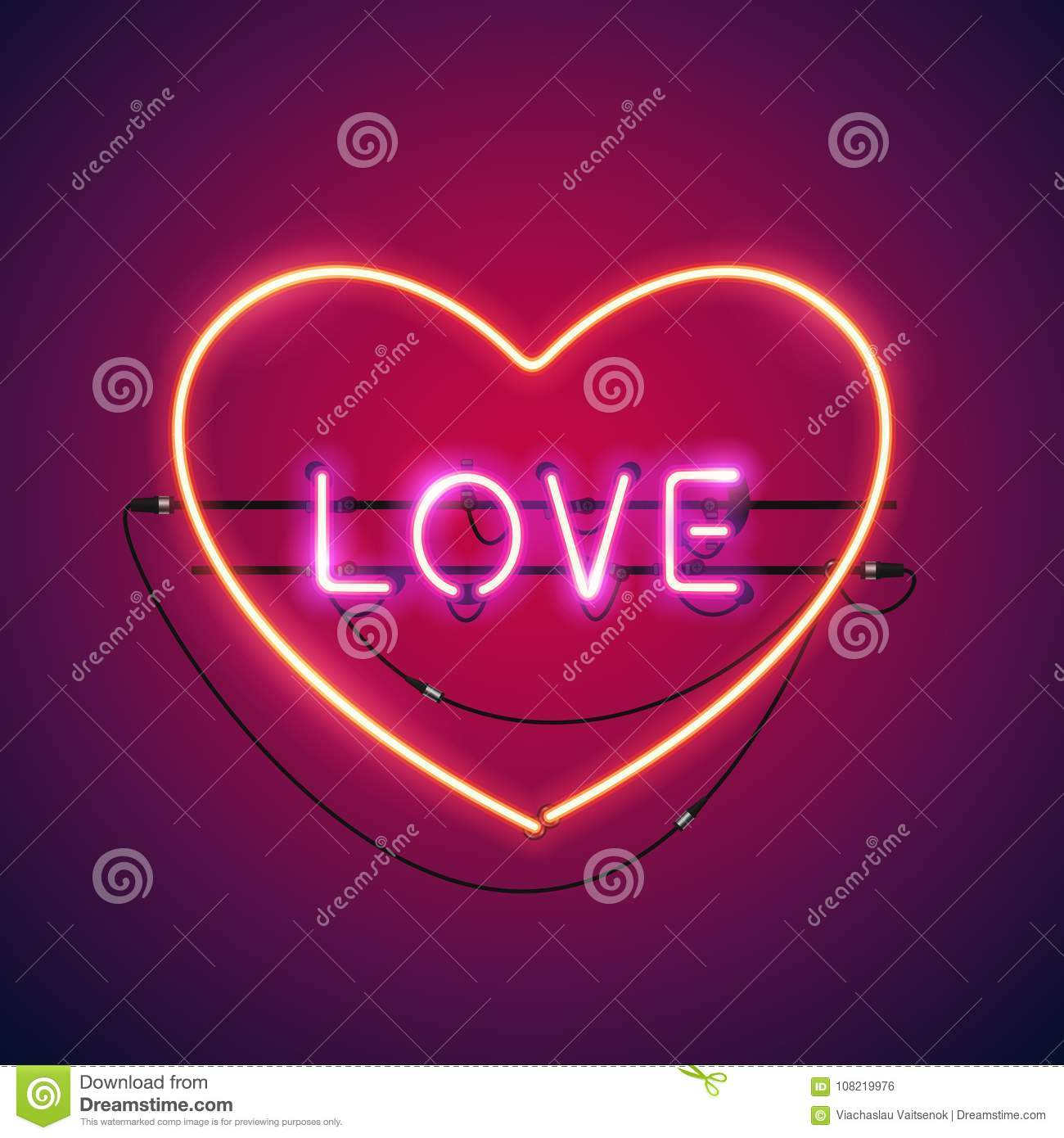 Pink Love In The Heart Neon Sign Stock Vector Illustration Of
