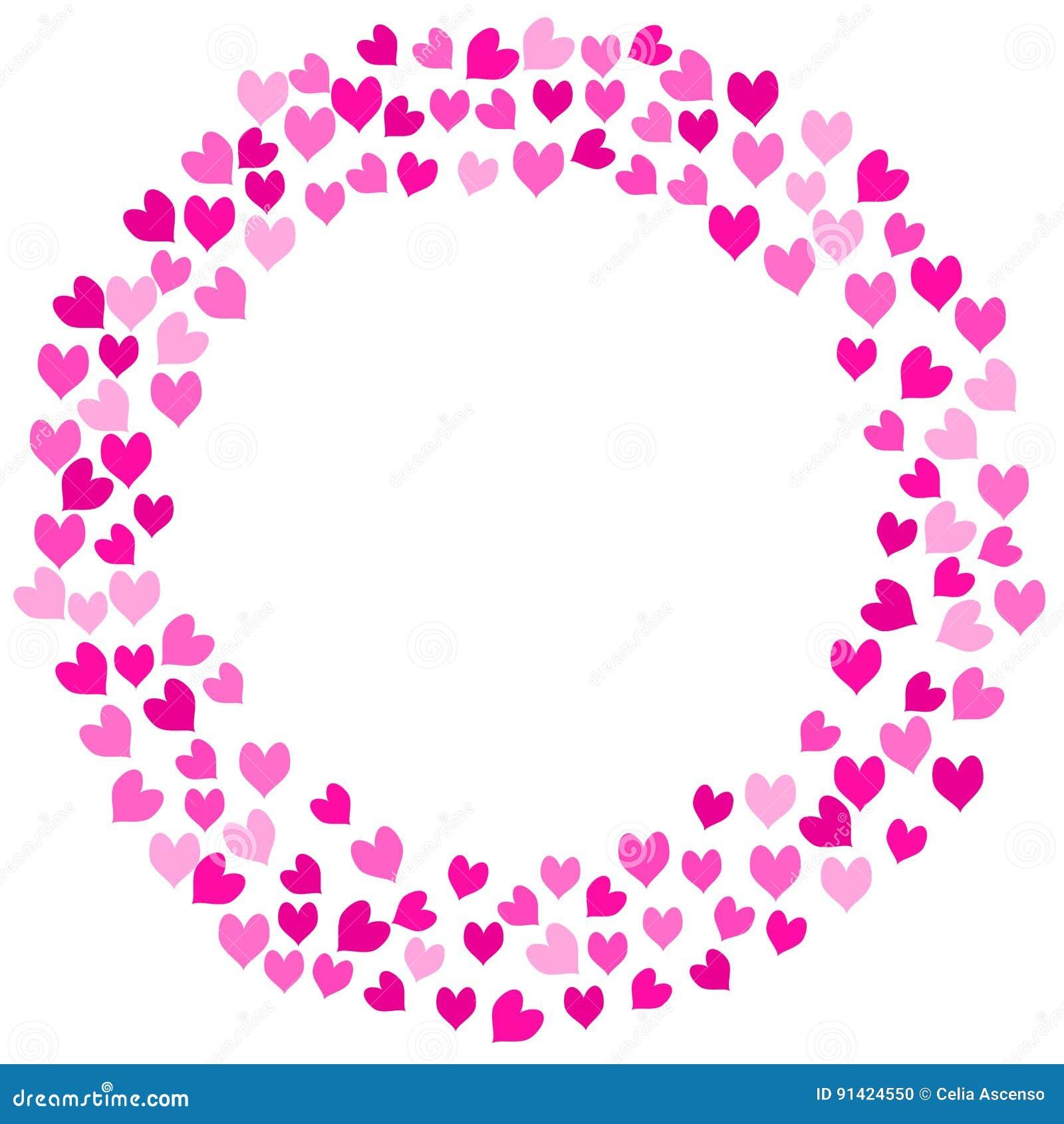 Pink Love Hearts Round Frame