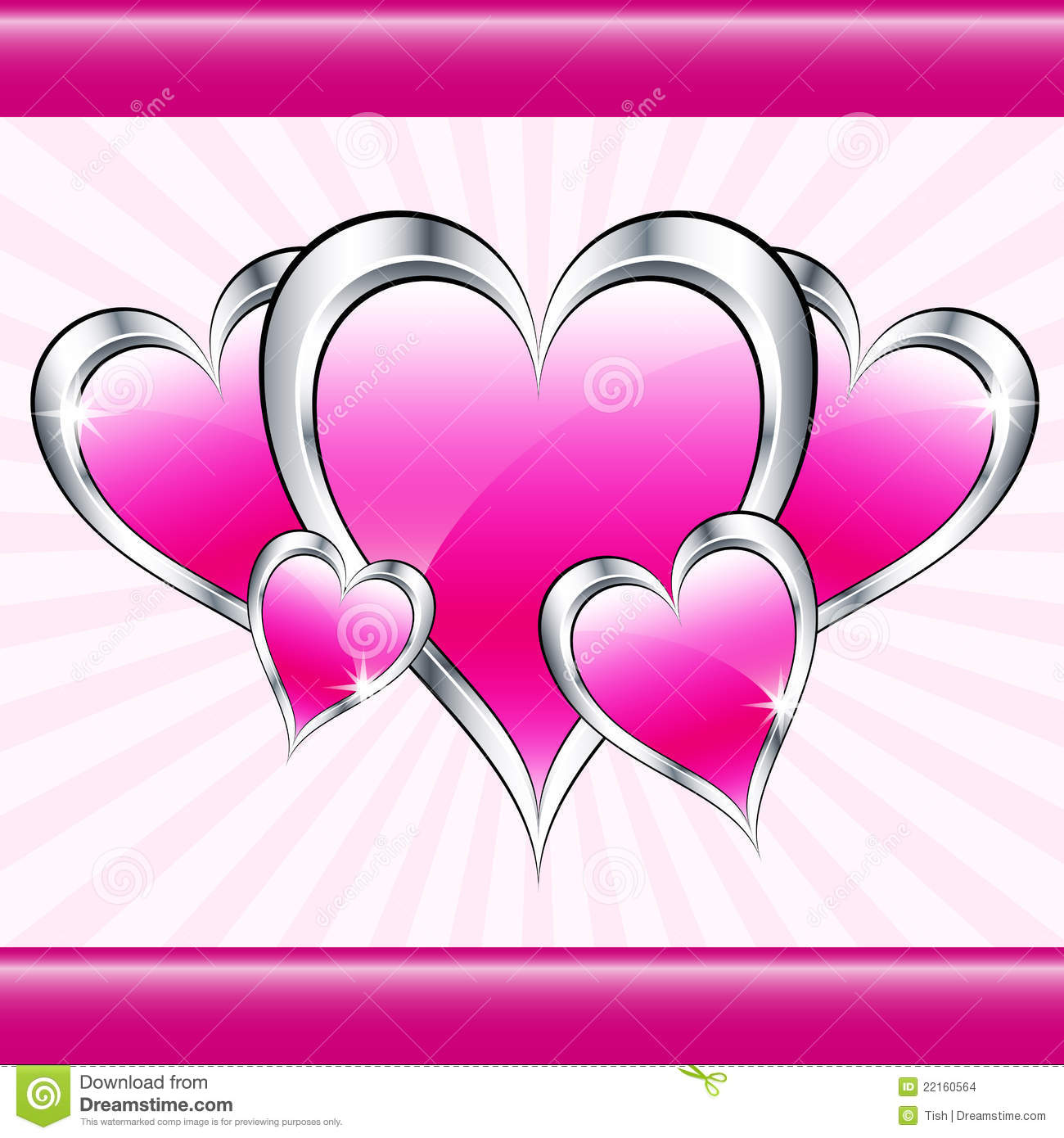 Pink Love Hearts And Starburst Stock Images - Image: 22160564
