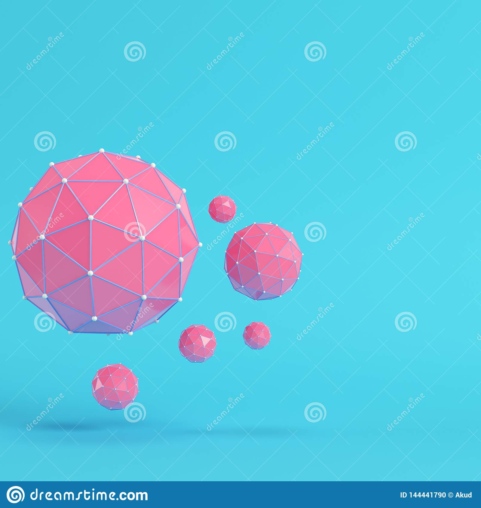 7898a868 Pink low poly abstract spheres on bright blue background in pastel colors.  Minimalism concept. 3d render. More similar stock illustrations