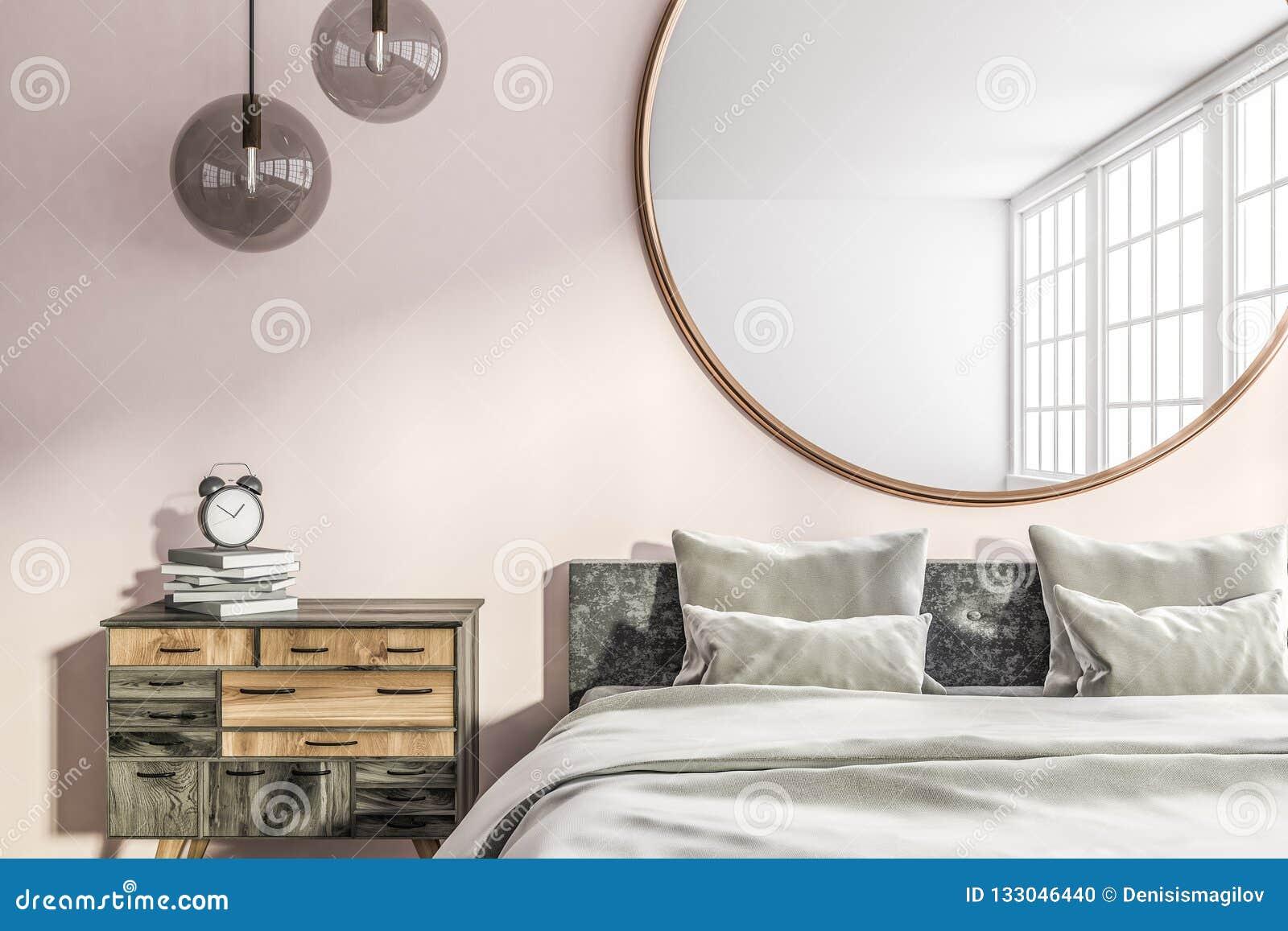 Pink Master Bedroom Interior Stock Illustration ...