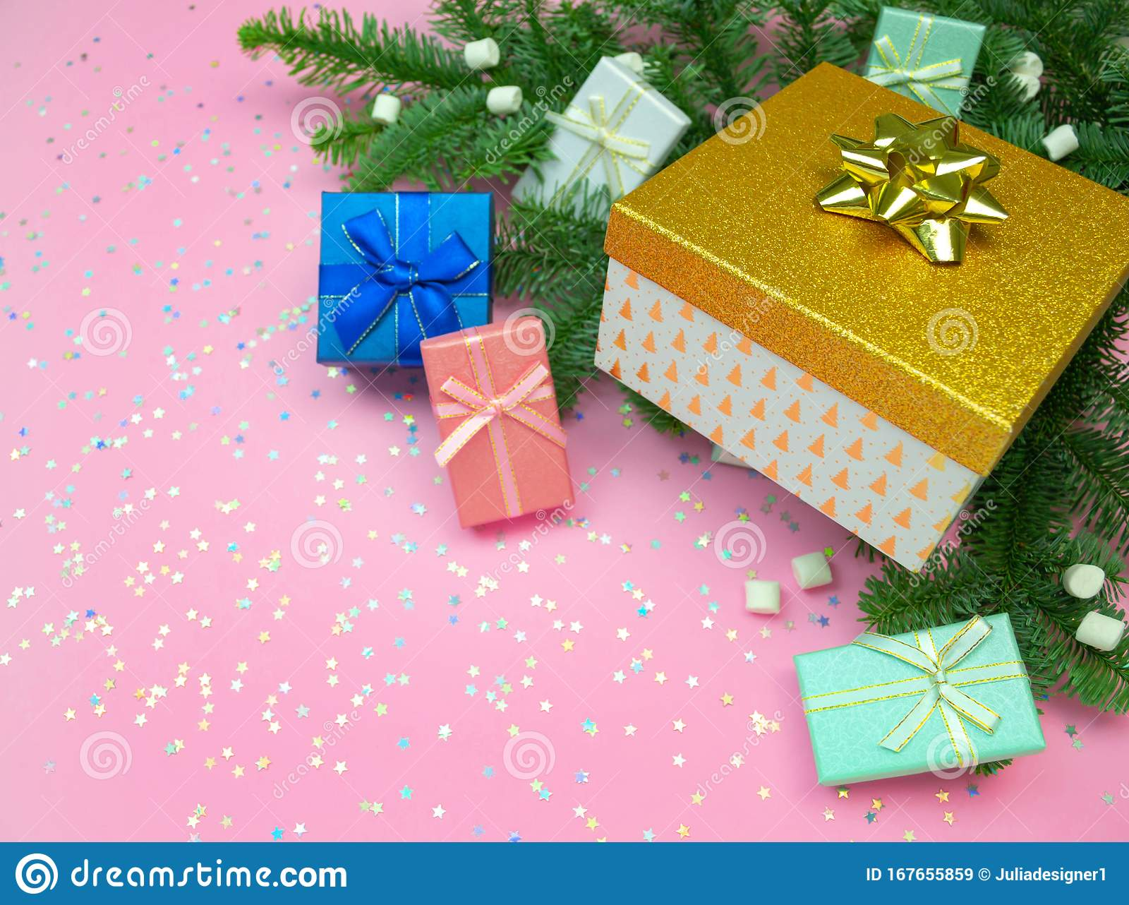 Pink Mint Blue Gold Gift Box With Ribbon Marshmallow Christmas Tree Branches And Rainbow Holographic Stars Confetti Stock Image Image Of Glitter Mint 167655859