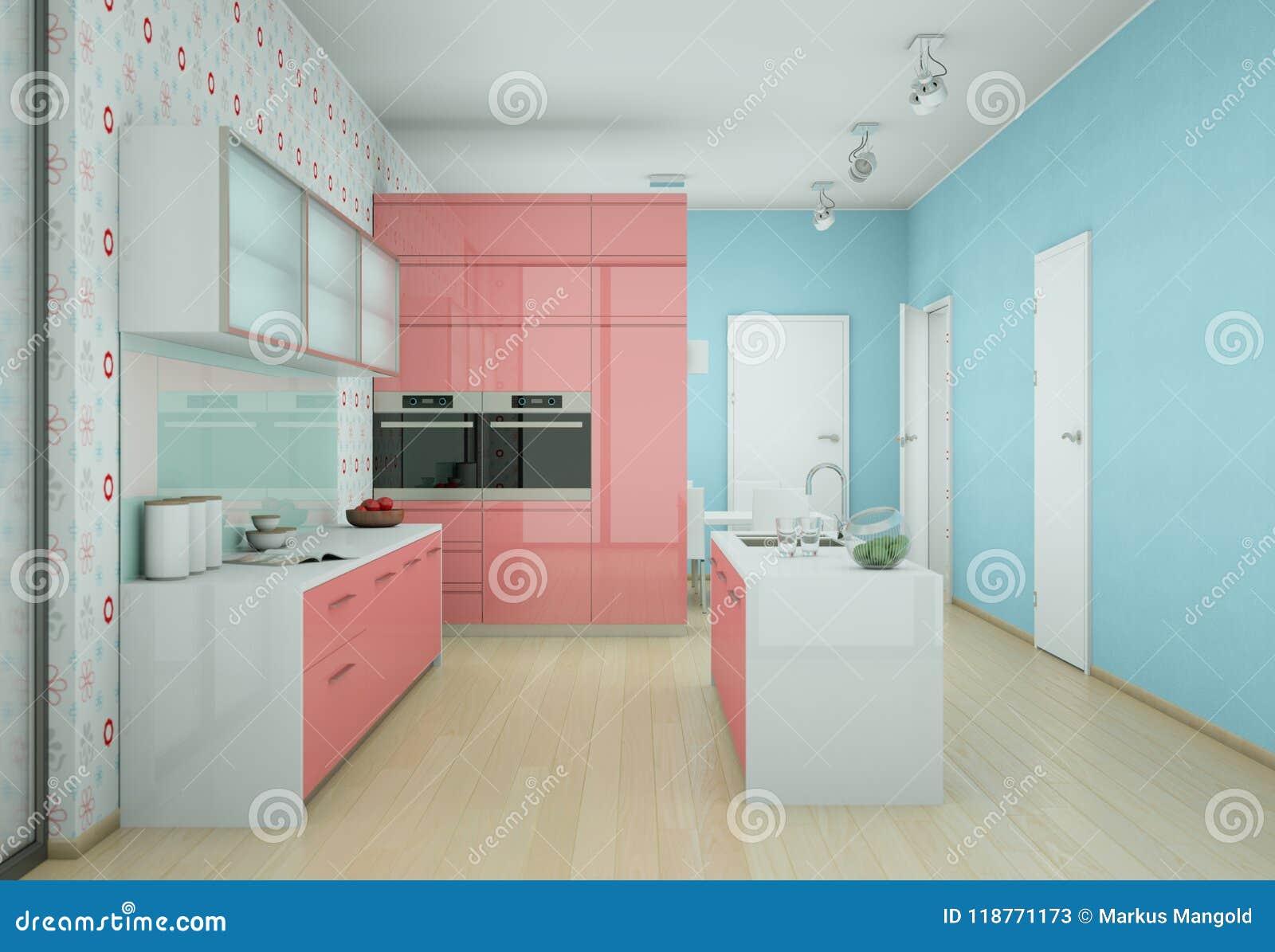 Pink Modern Kitchen With Vintage Wallpaper Stock Illustration Illustration Of Inside Flat 118771173