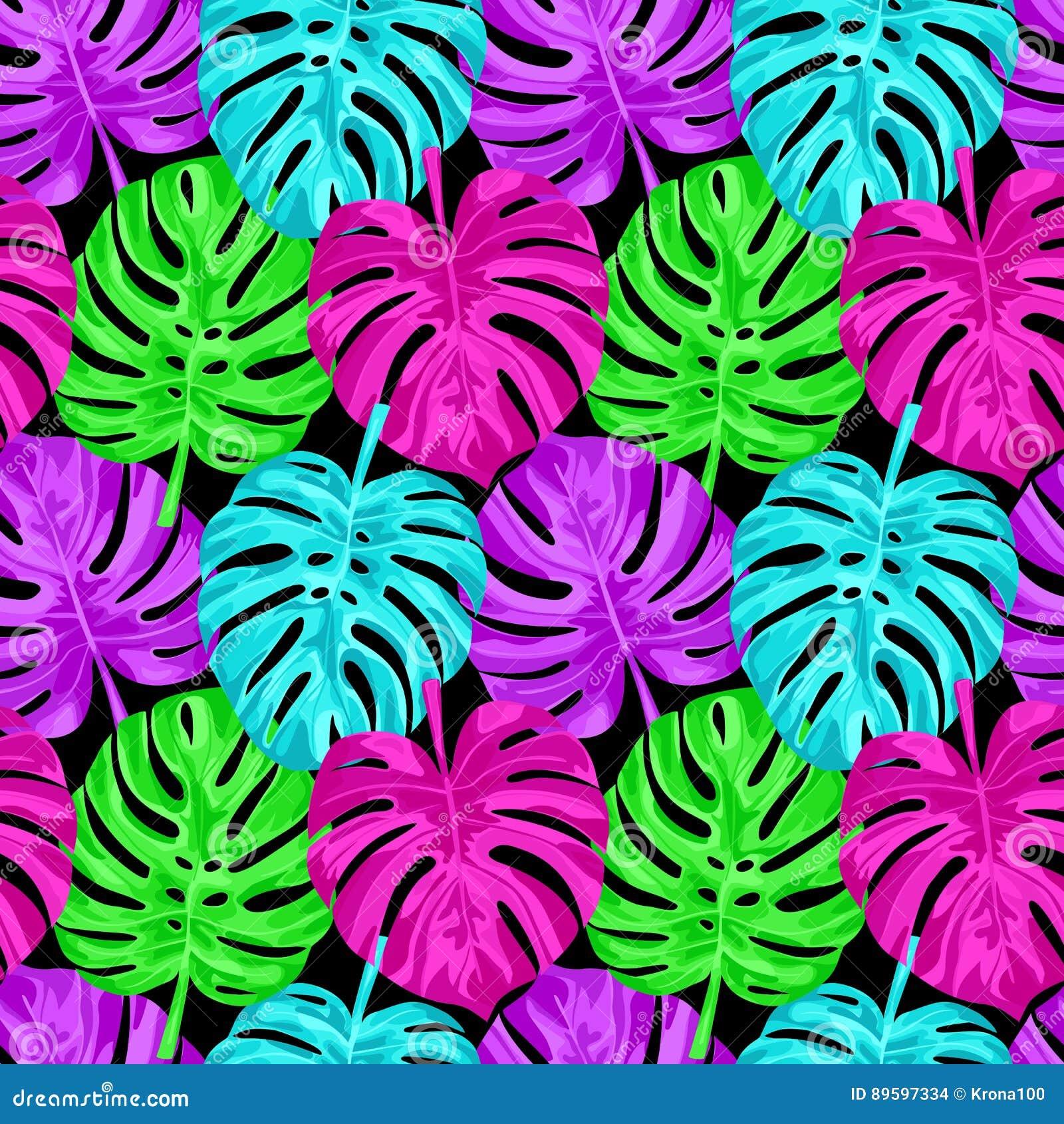 Pink Monstera Seamless Pattern Stock Vector Illustration Of Design Green 89597334 Green neon lights frame with tropical leaves mockup design. dreamstime com