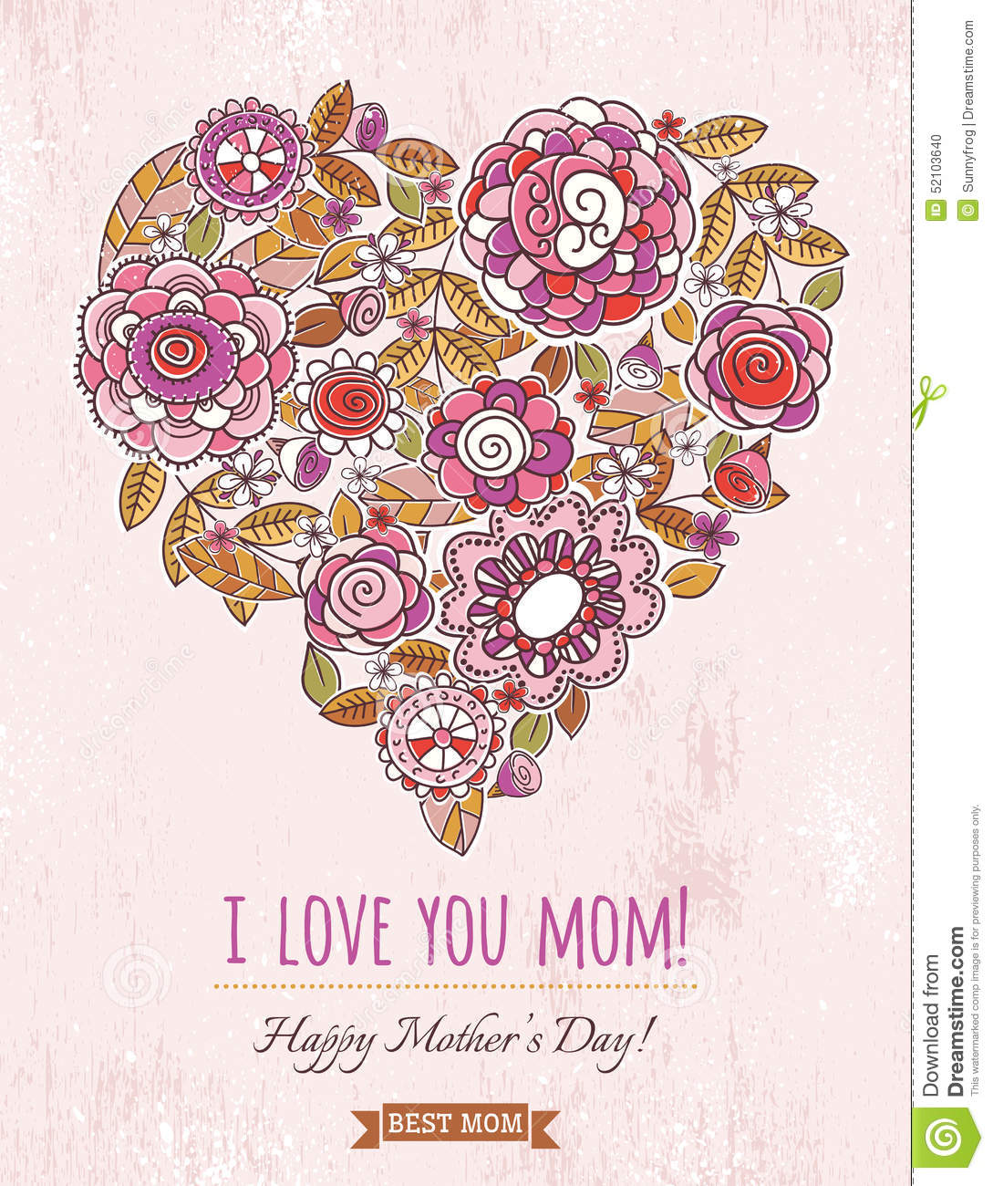 heart flowers mothers day card pink mothers day card with big of flowers 6702
