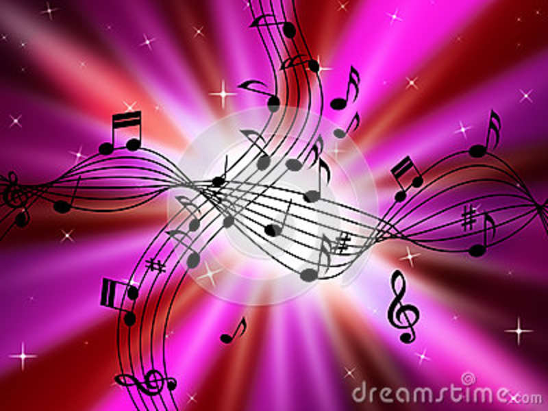 Pink Music Background Shows Musical Instruments And Brightness Stock ...