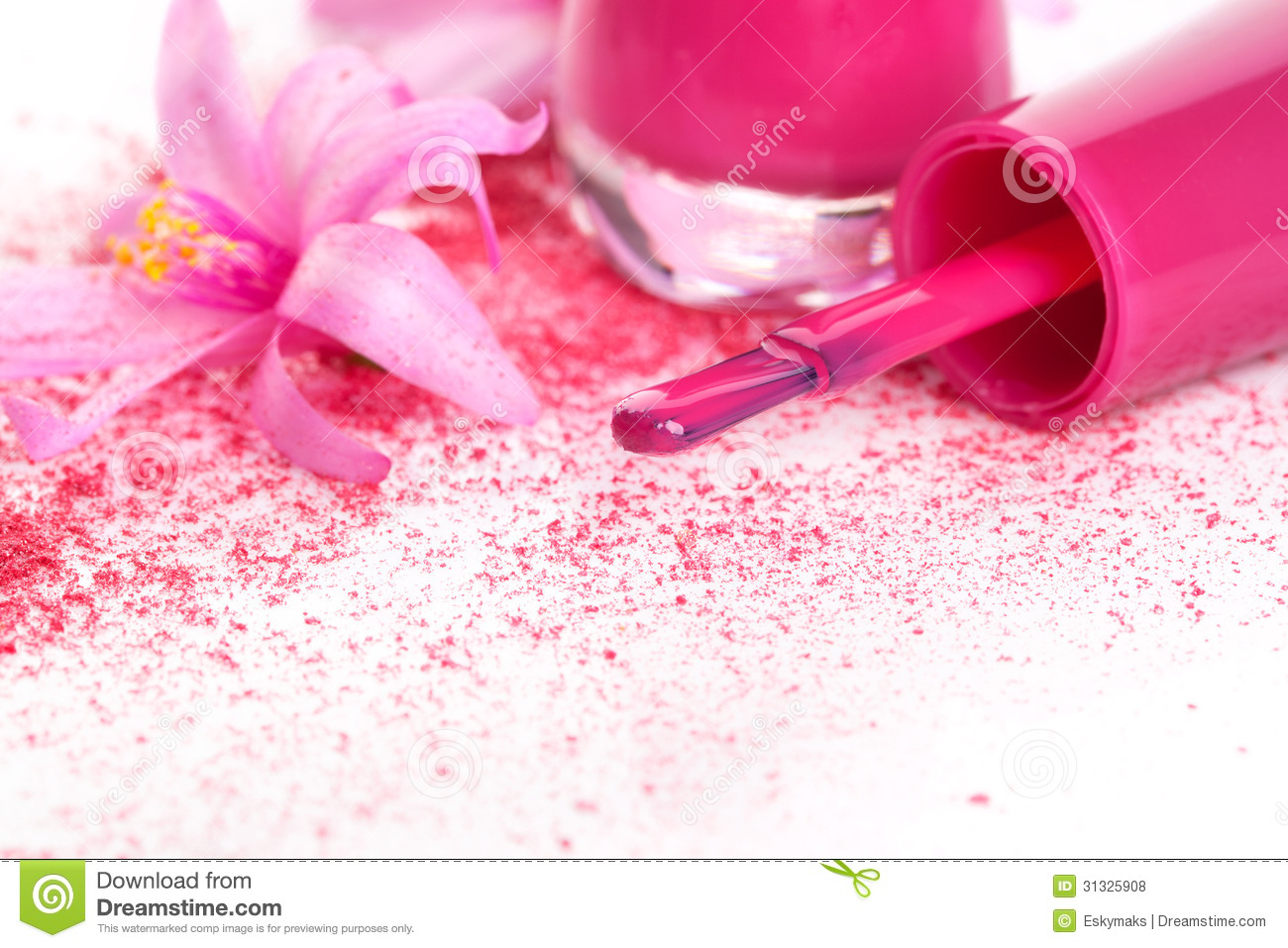 Girly Background Royalty Free Stock Photo: Pink Nail Polish Background. Stock Photo