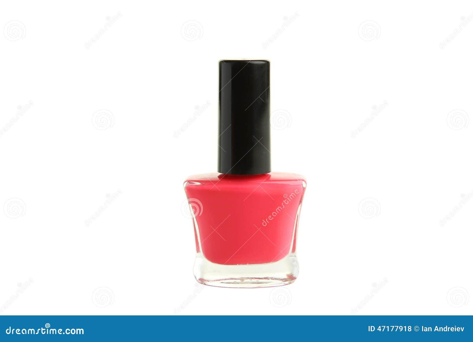 Pink Nail Polish Bottle Isolated On White. Stock Photo ...