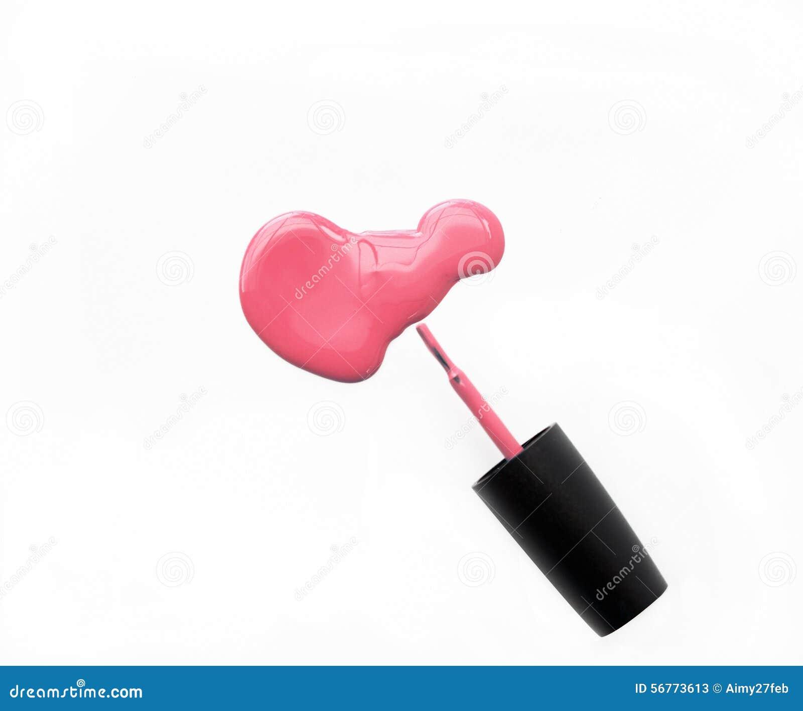 Pink Nail Polish And Brush On White Background Stock Image - Image ...
