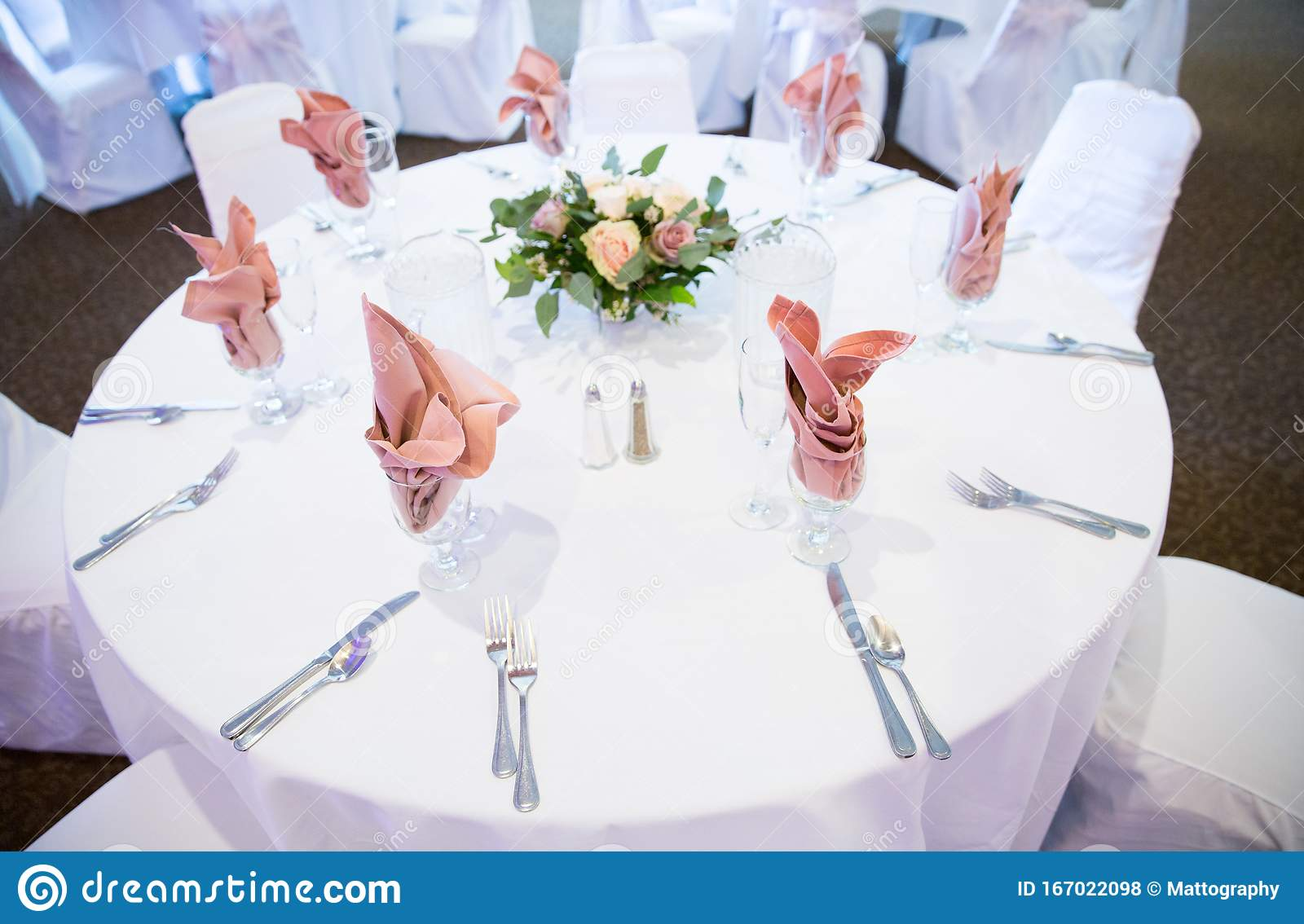 Pink Napkins And White Linens Stock Photo Image Of Interior Circular 167022098