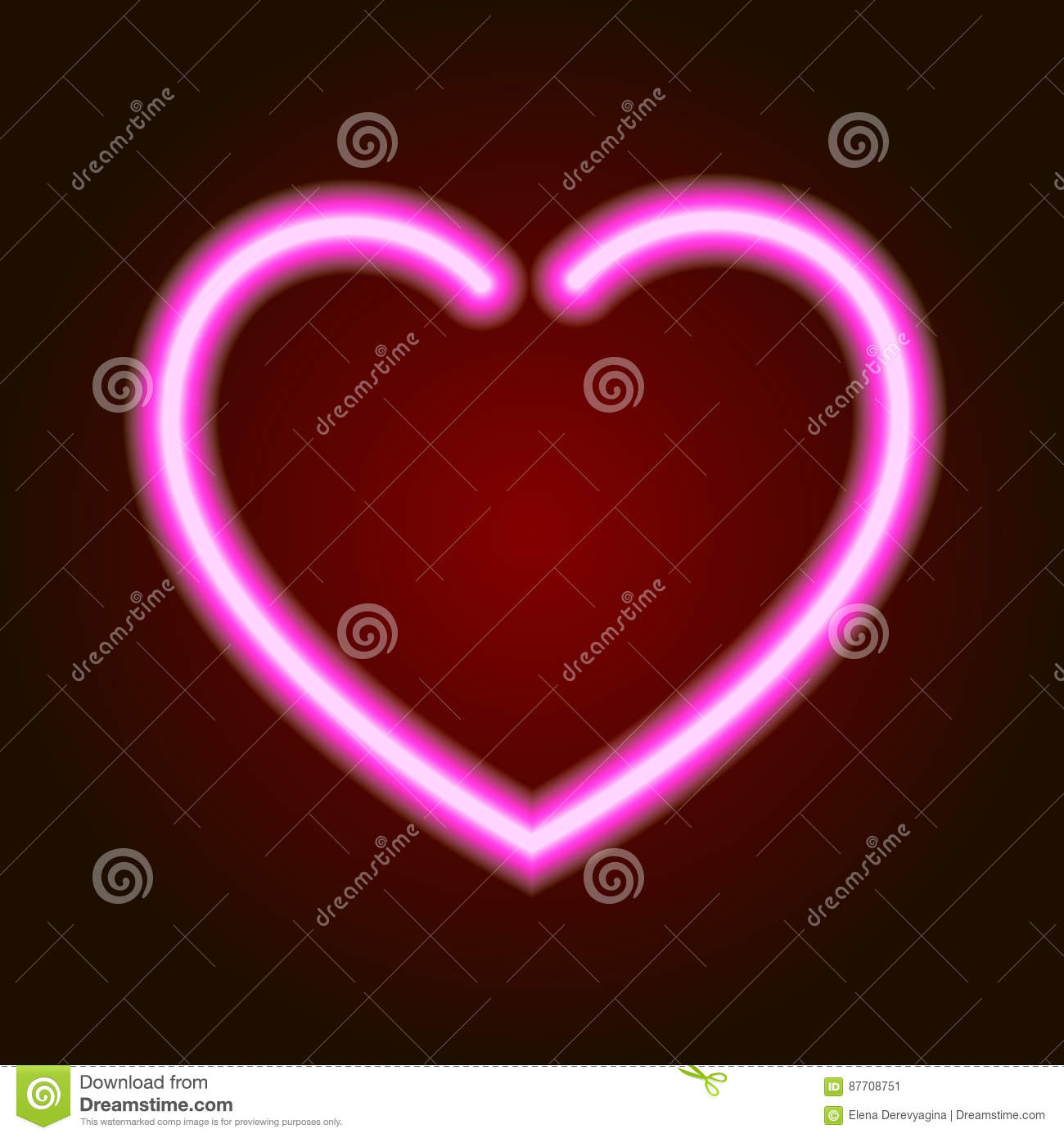 Pink neon glowing heart symbol of love on dark background of illustration