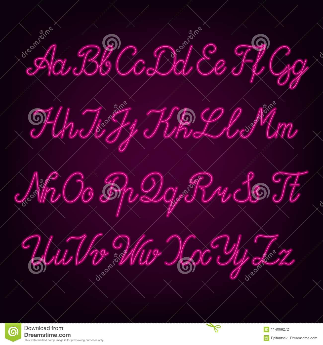 Pink neon script alphabet font. Neon color uppercase and lowercase letters.